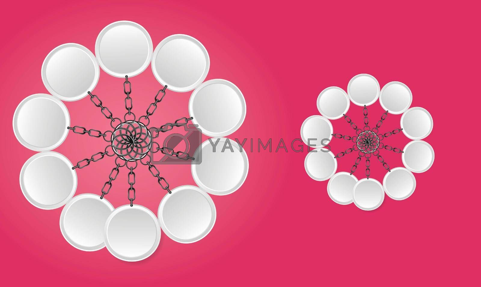 Royalty free image of 3d illustration of keyring on abstract red background by aanavcreationsplus