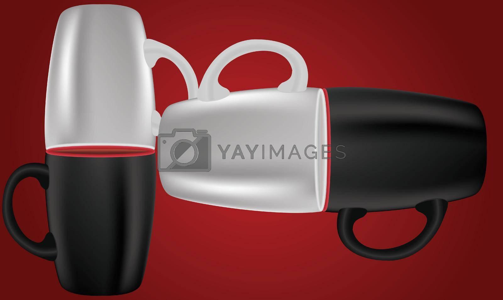 Royalty free image of Mockup illustration of coffee mug on abstract dark background by aanavcreationsplus