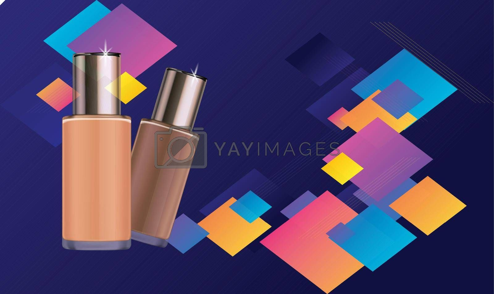 Royalty free image of mockup illustration of cosmetic product on cubic background by aanavcreationsplus