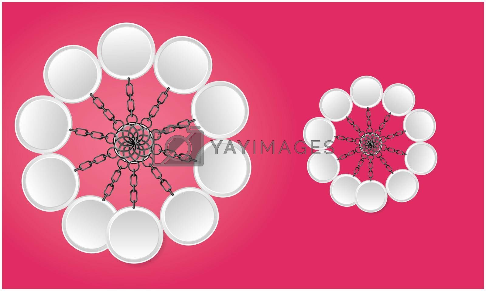 3d illustration of keyrings on abstract red background