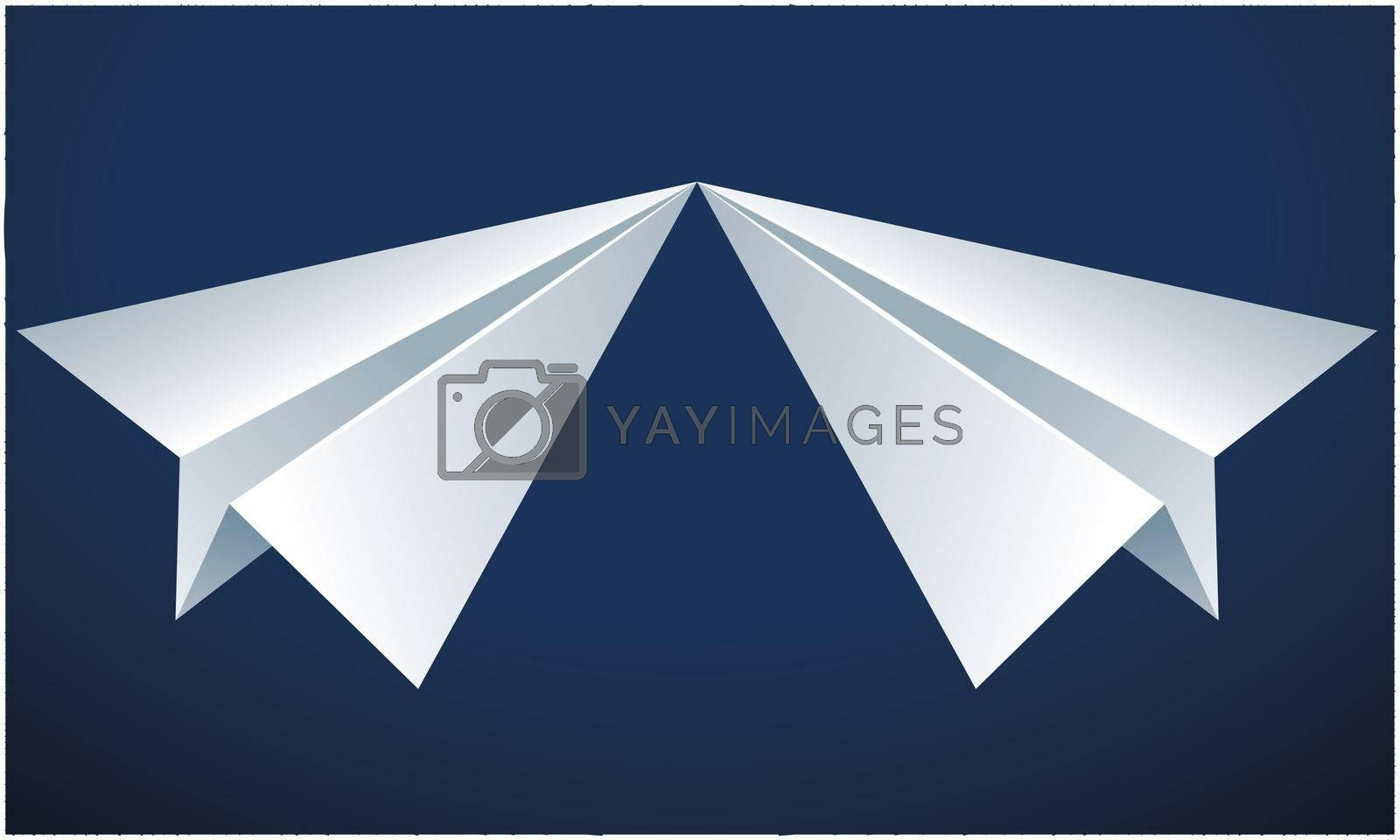 two paper planes touching nose on abstract blue background