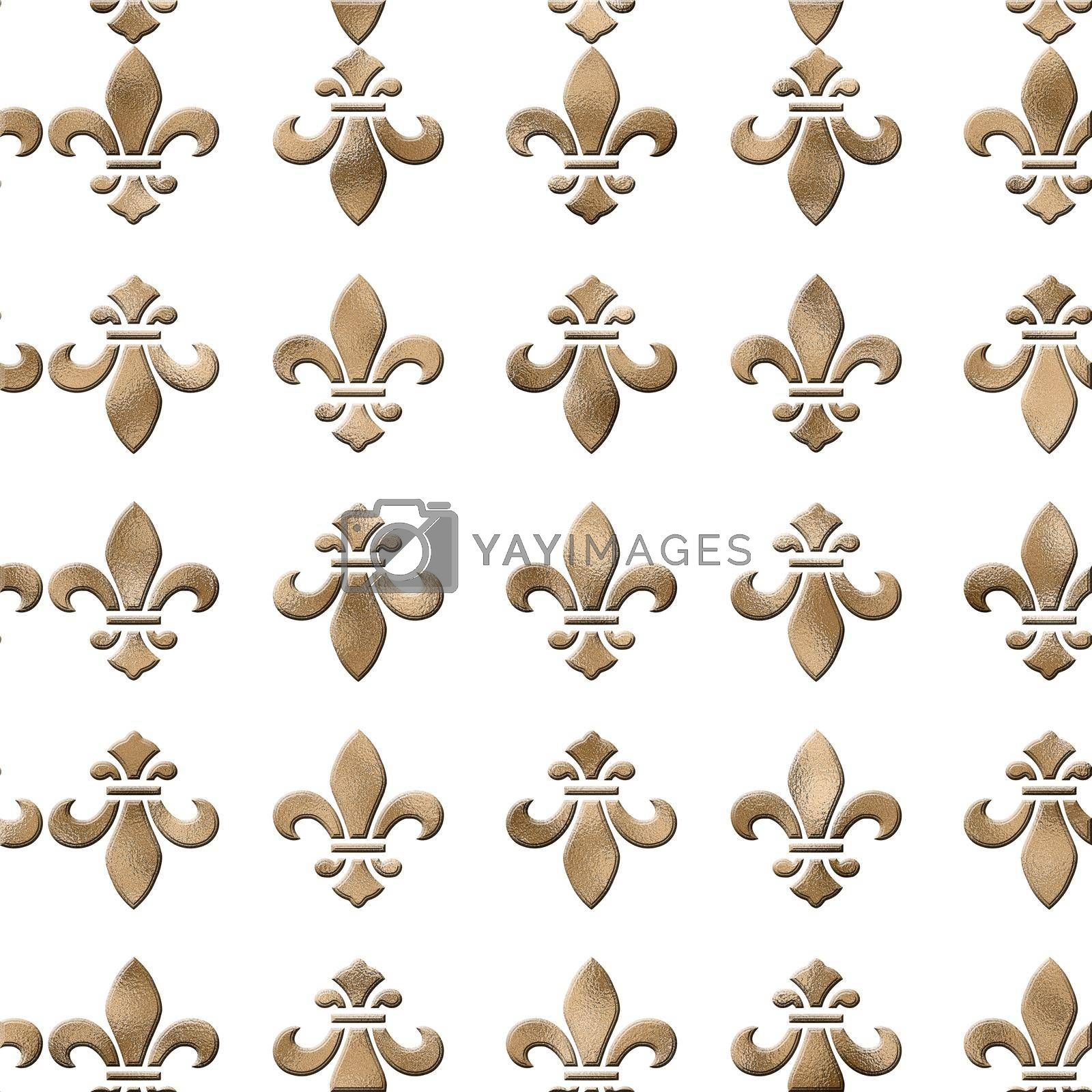 Seamless background with lily fleur de Lis. Gold pattern with heraldic symbol fleur-de-lis on white. Modern abstract pattern. 3D Illustration