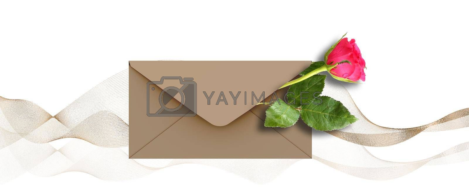 Single Red rose flower in envelope for mock up on white background, abstract golden waves. Flowers for holiday cards, mother's day, 8 March, birthday, wedding, Valentine's Day. Beautiful flower card