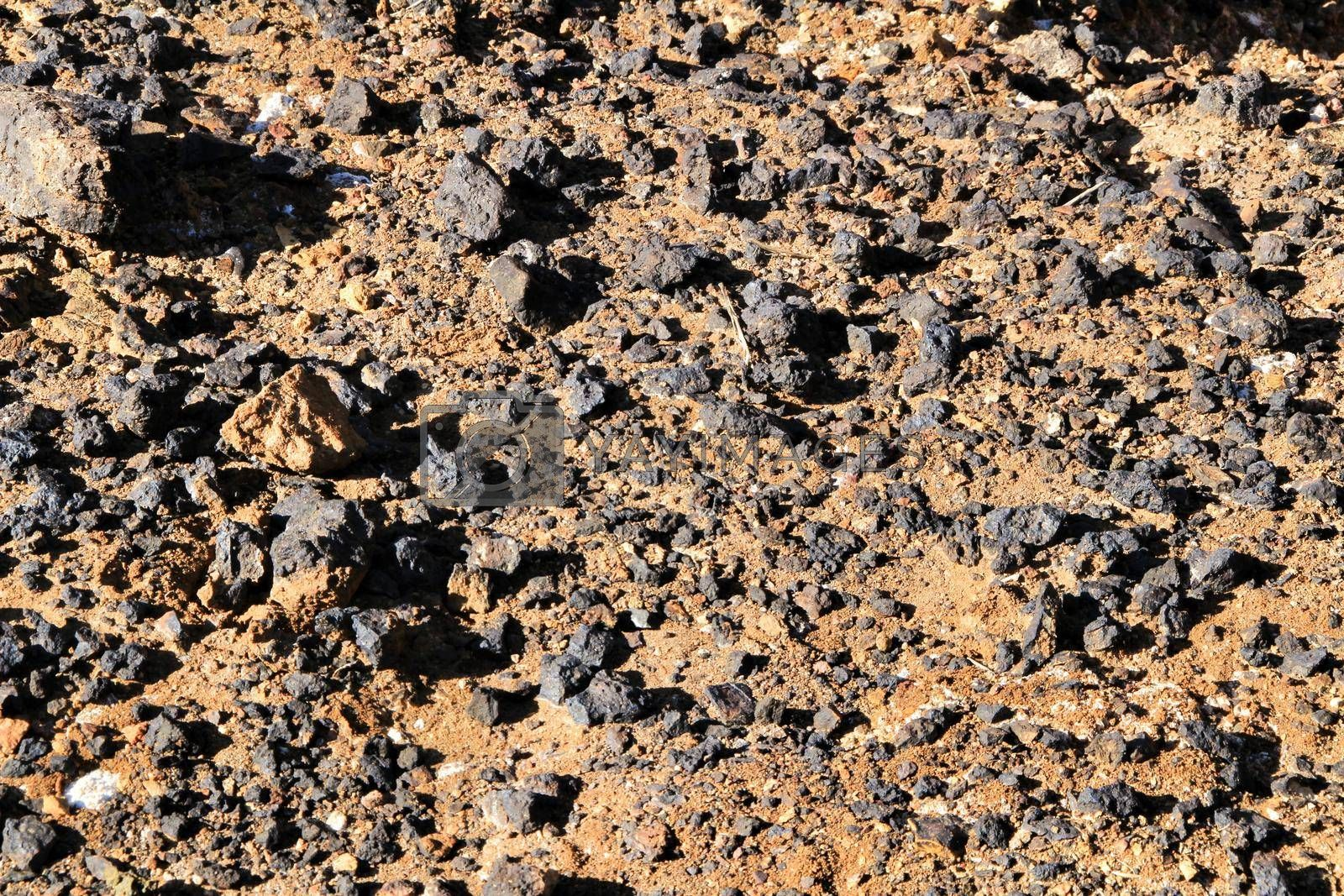 Zinc and lead minerals on the floor of an old abandoned quarry in Mazarron