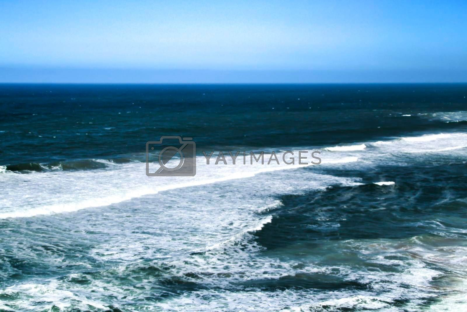 Beautiful brave sea of the coast of Azenhas do Mar in Portugal in Spring