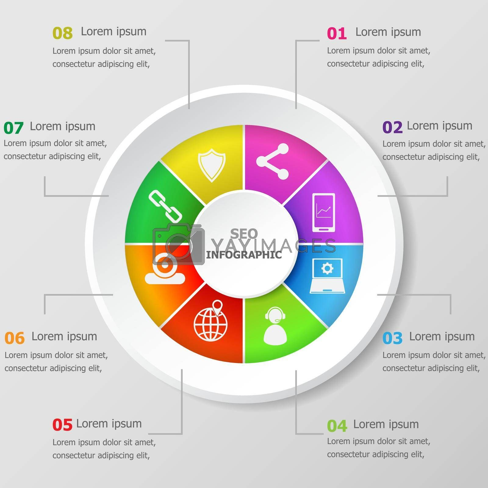 Royalty free image of Infographic design template with seo icons by punsayaporn