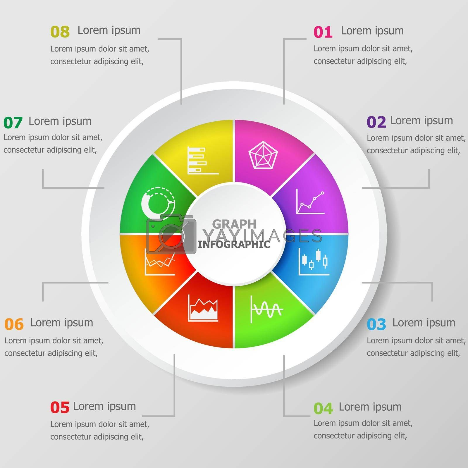 Royalty free image of Infographic design template with graph icons by punsayaporn