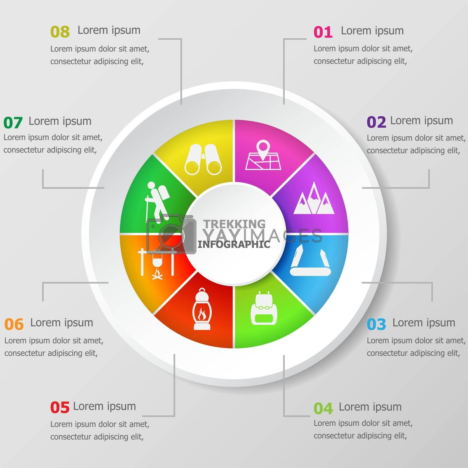 Royalty free image of Infographic design template with trekking icons by punsayaporn