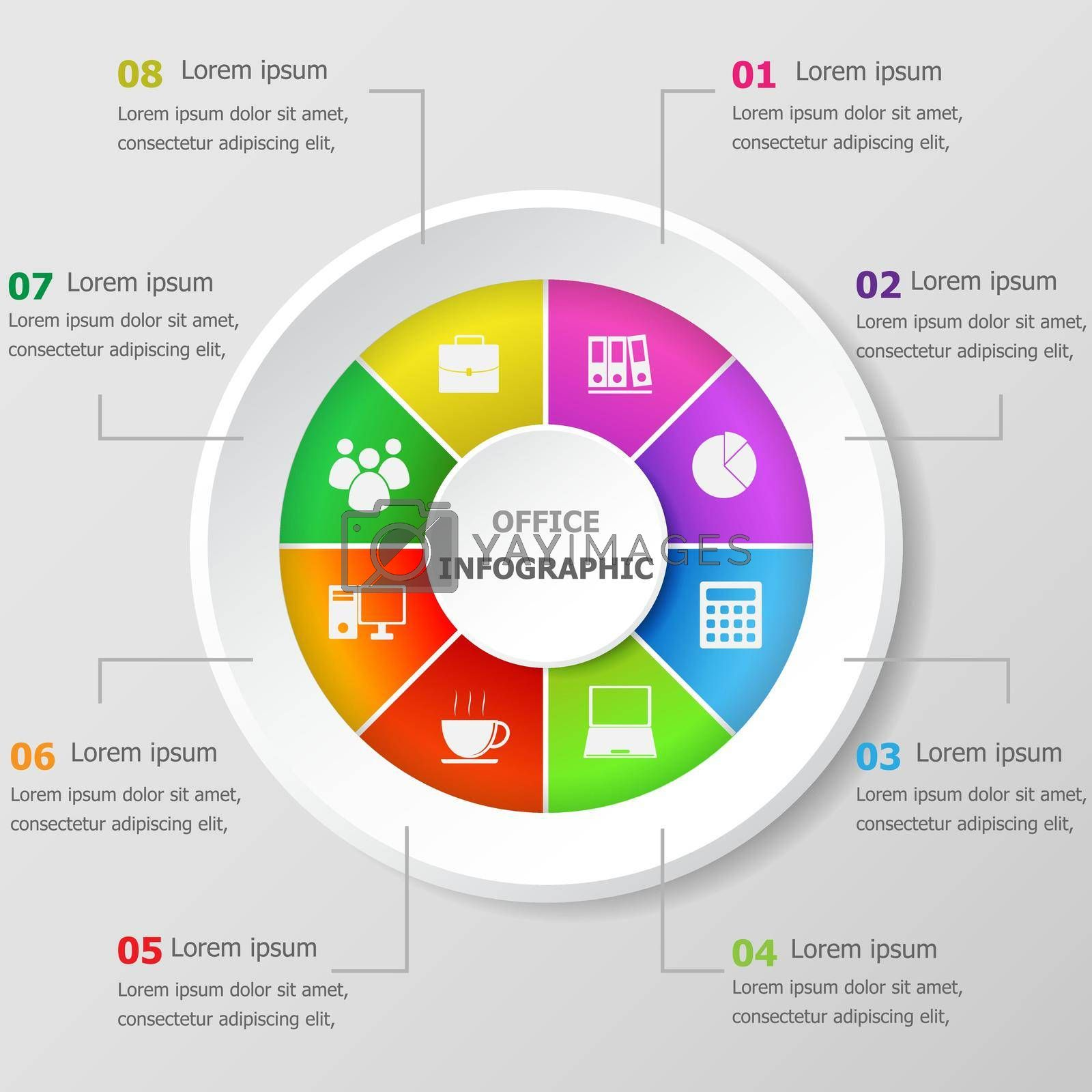 Royalty free image of Infographic design template with office icons by punsayaporn