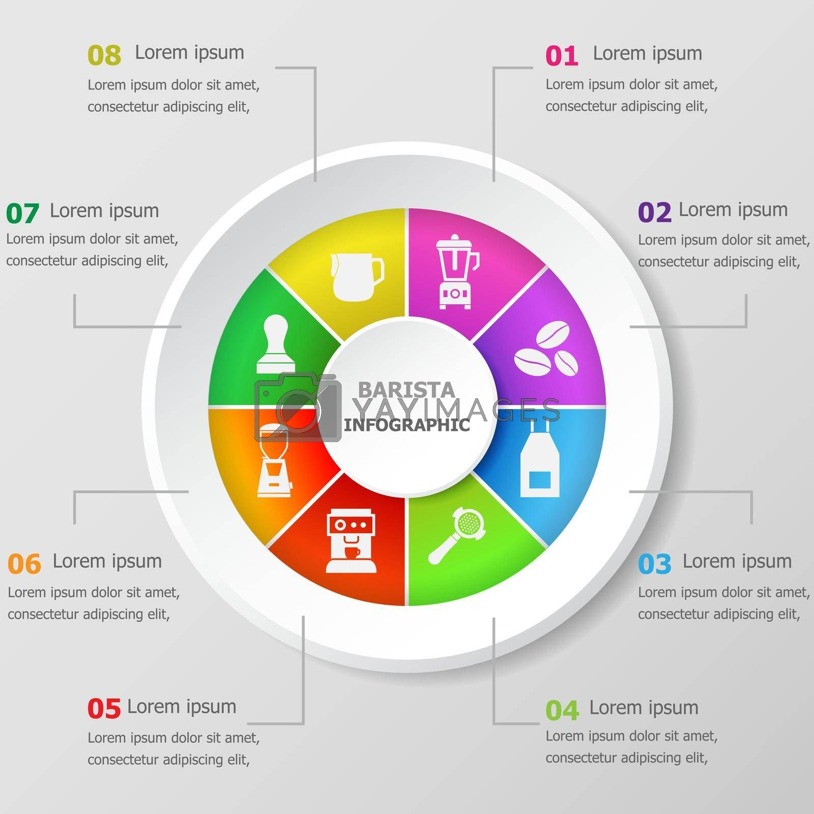 Royalty free image of Infographic design template with barista icons by punsayaporn