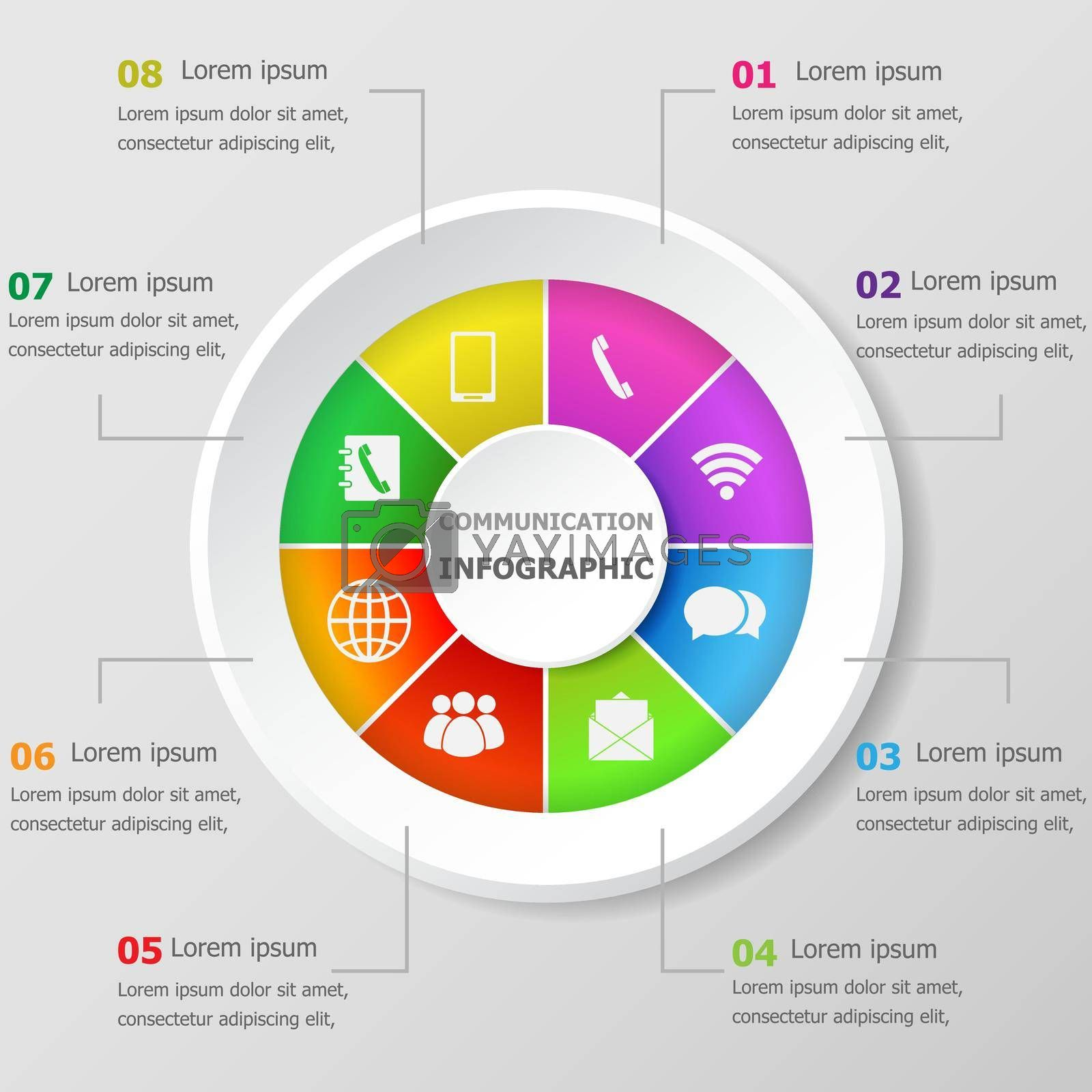 Royalty free image of Infographic design template with communication icons by punsayaporn