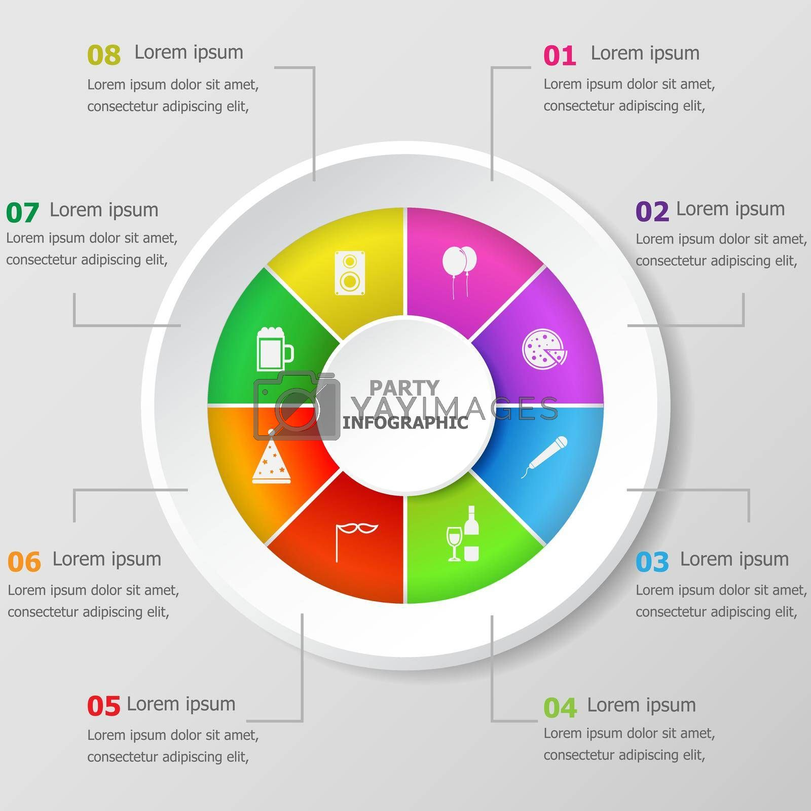 Royalty free image of Infographic design template with party icons by punsayaporn
