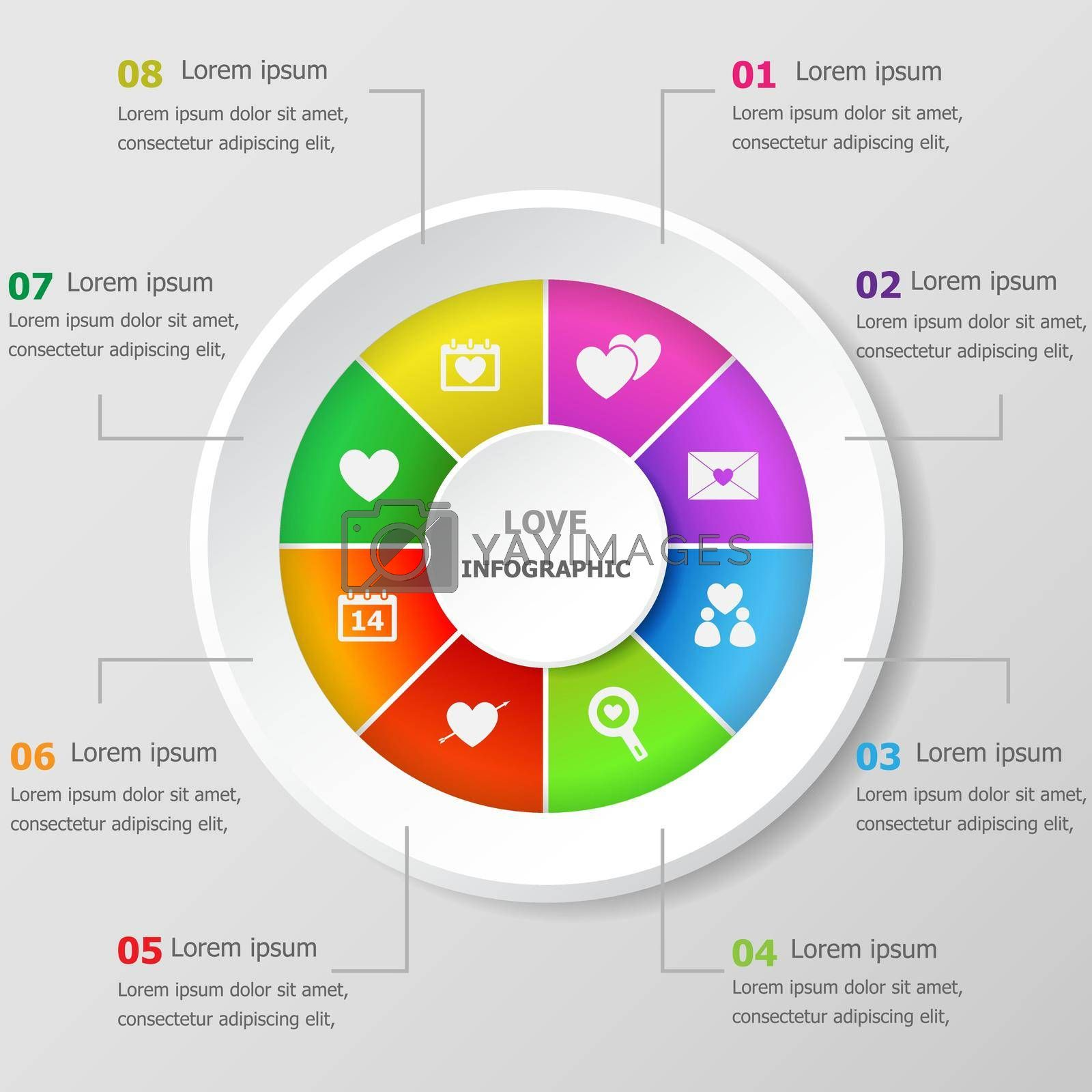 Royalty free image of Infographic design template with love icons by punsayaporn