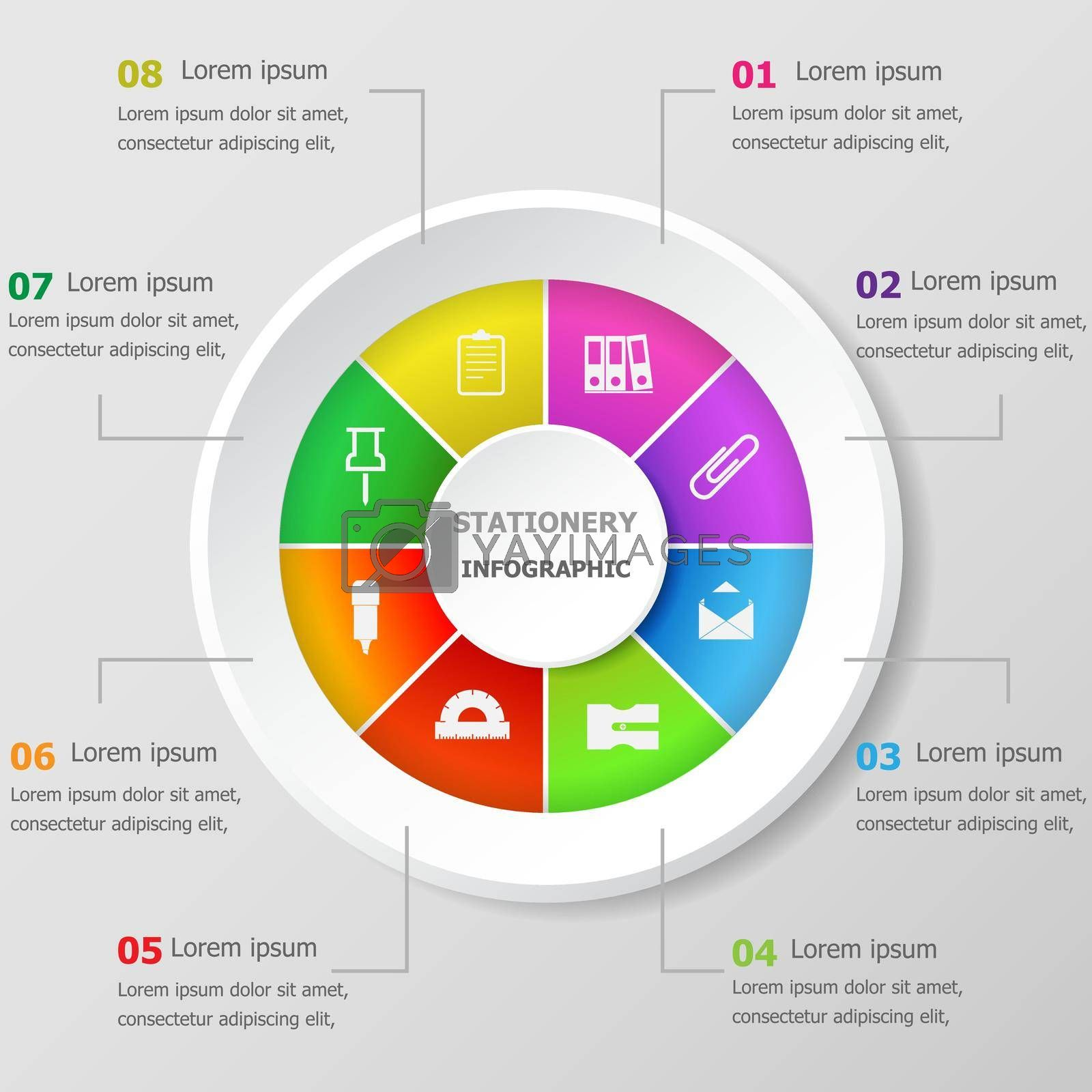 Royalty free image of Infographic design template with stationery icons by punsayaporn