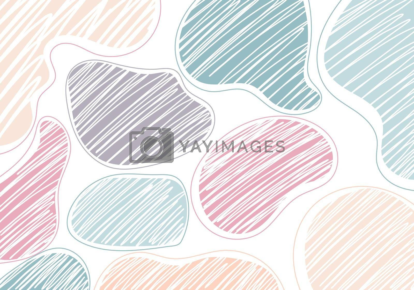 Abstract hand drawn art pastel color organic shape pattern on white background minimal style. Vector illustration