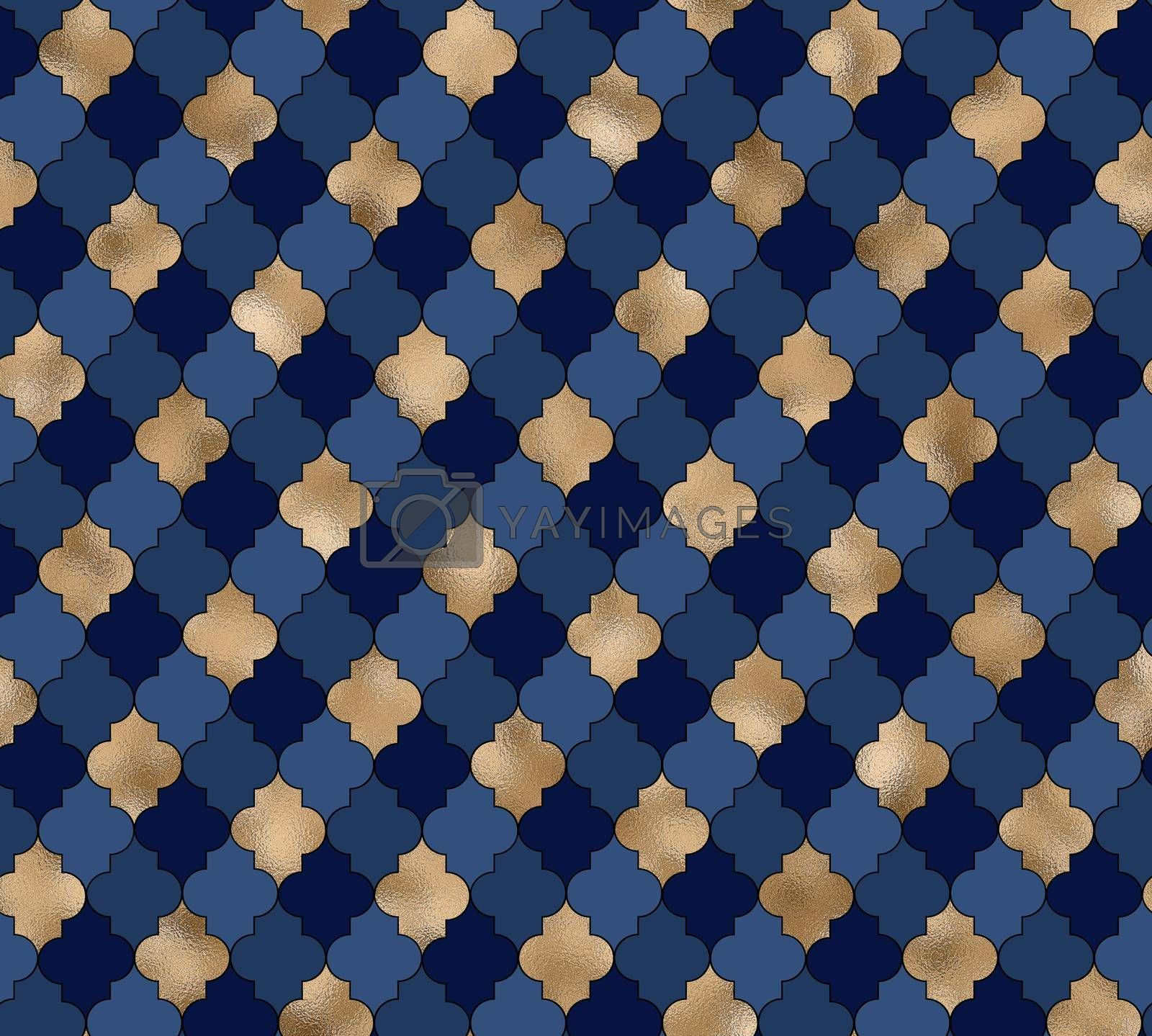 Abstract background. Blue gold pattern. Moroccan Arabic design geometric texture . Modern, contemporary lines with Moroccan pattern in gold and blue. 3D illustration