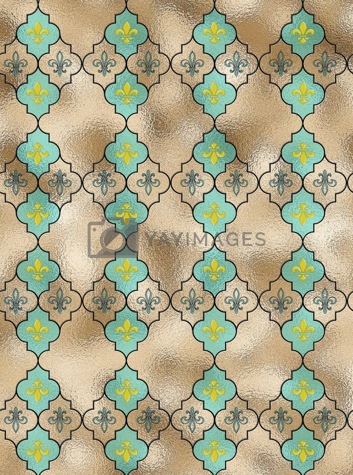 fleur-de-lis French seamless pattern with turquoise blue repeat motif lily fleur-de-Lis on gold shiny background, Illustration