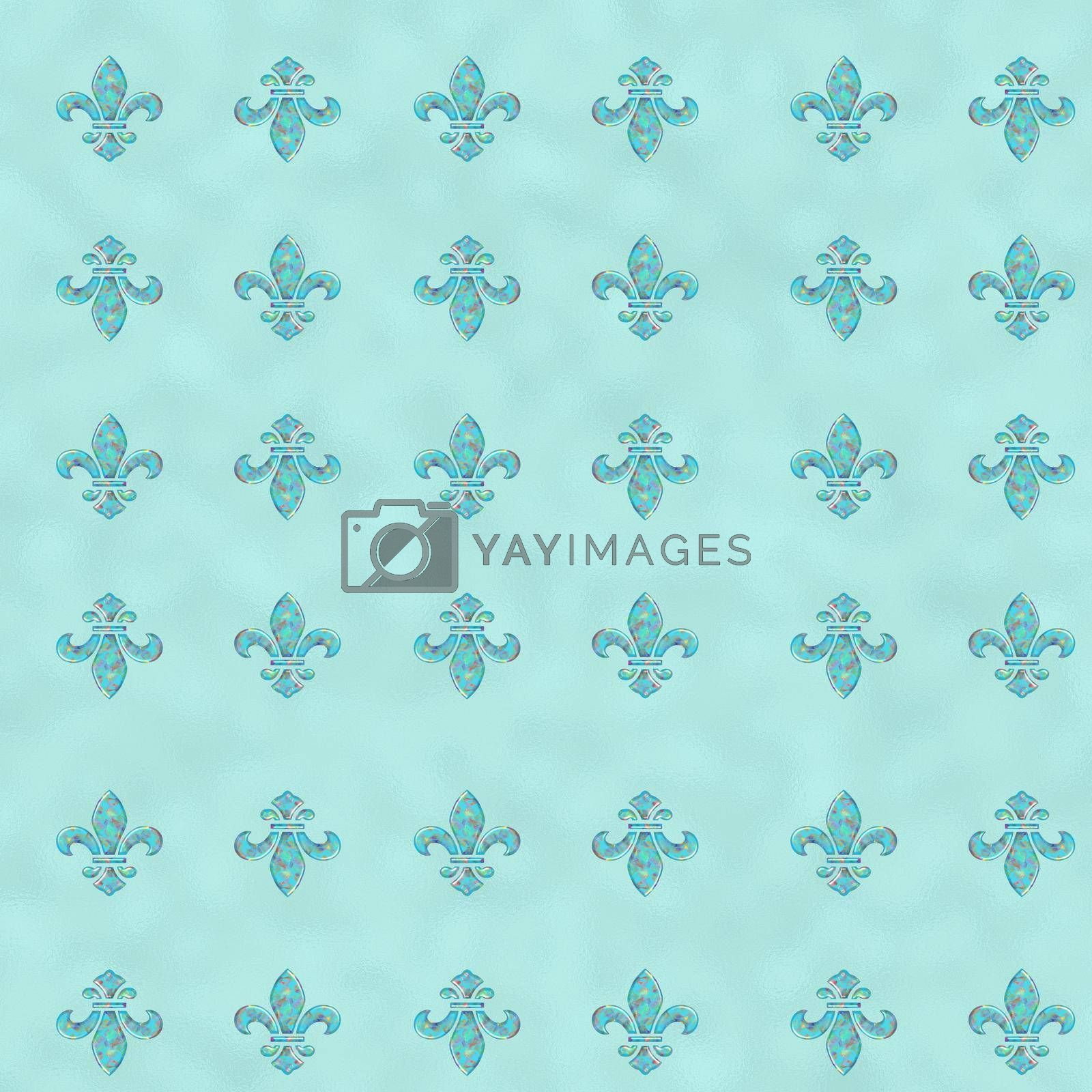 Royal Lily Fleur de Lis Seamless Pattern. Turquoise blue seamless background with lily fleur de lis for print fabric or poster. illustration