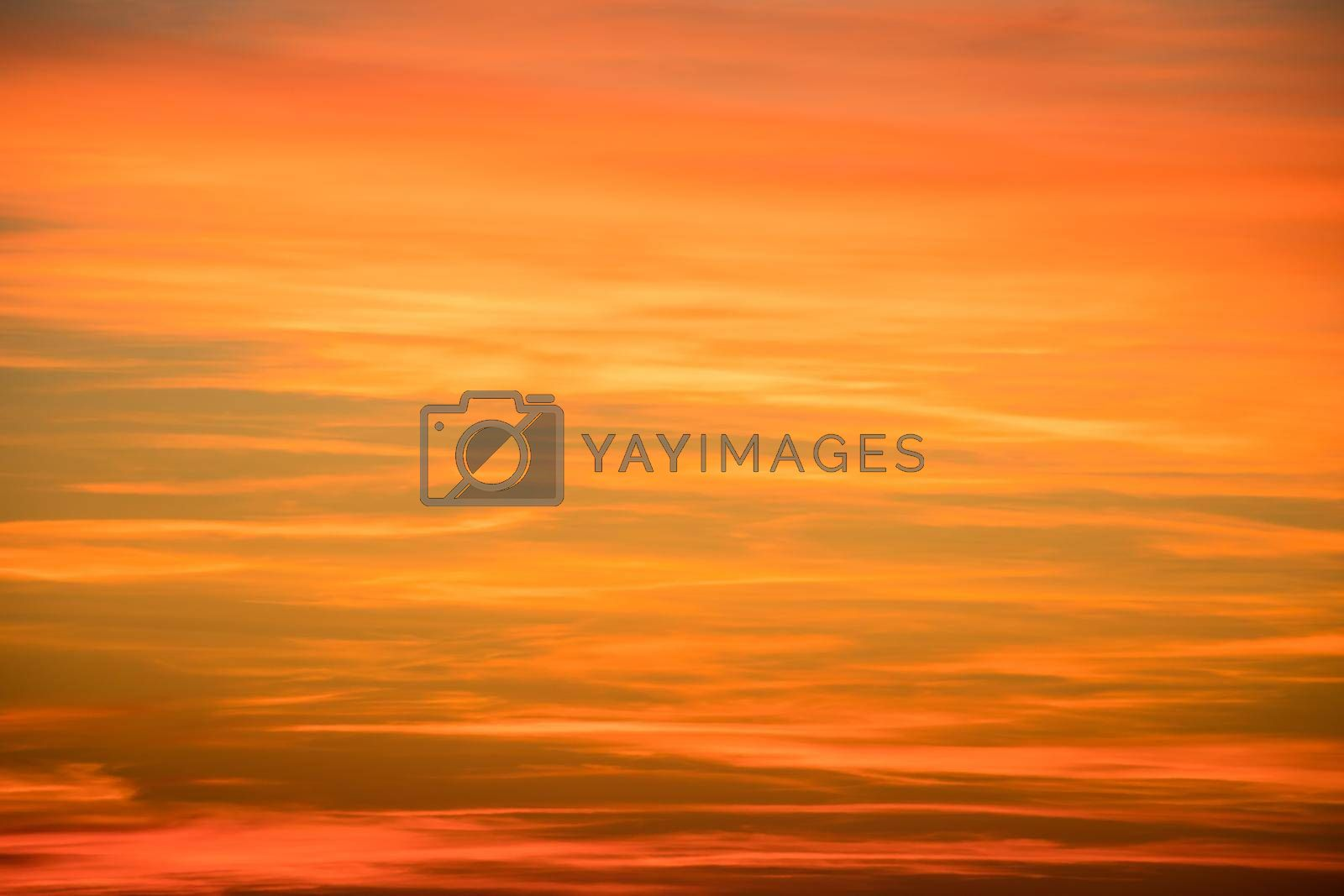 Colorful sunset over the mountain hills. Beautiful landscape in Azerbaijan.