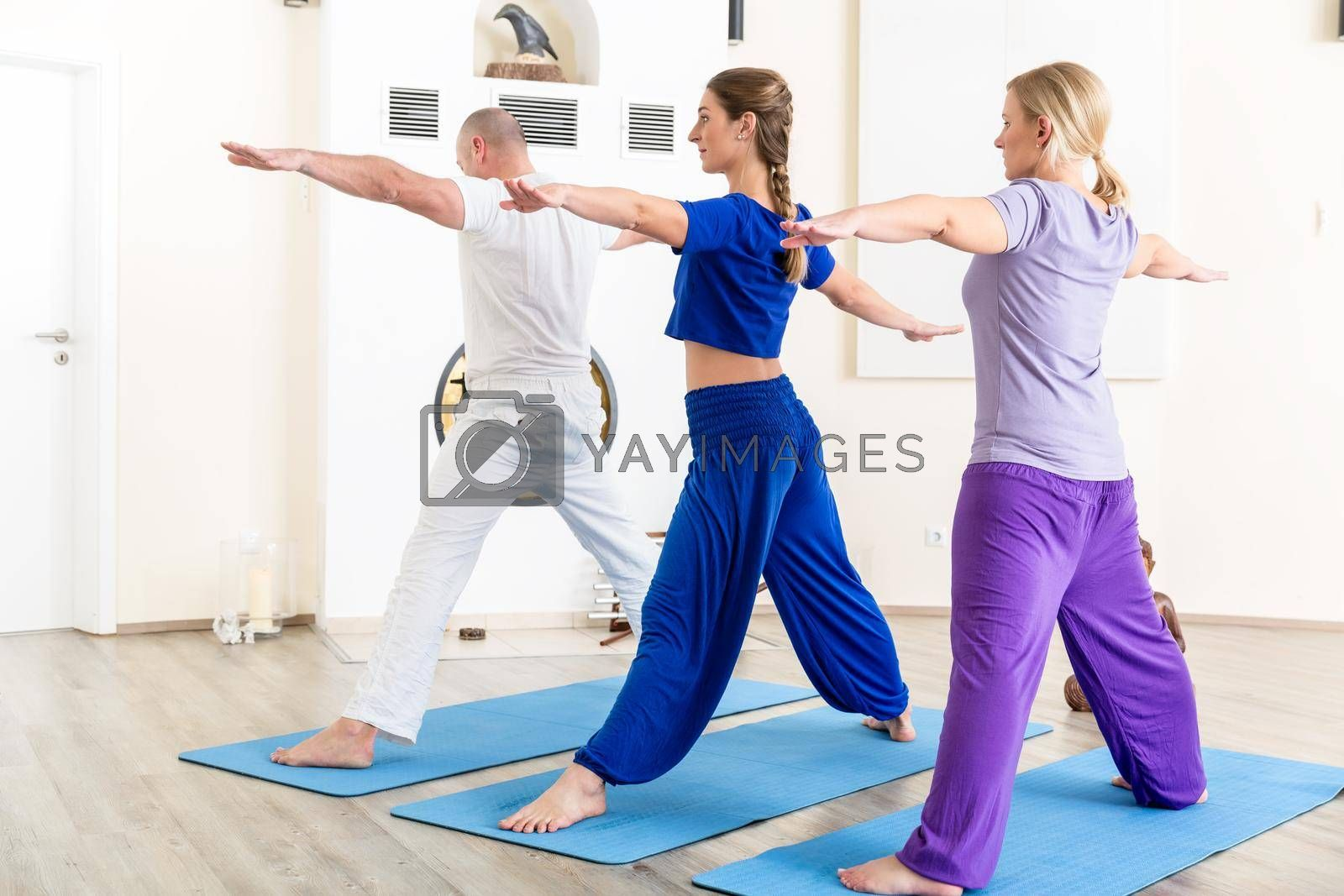 Healthy people performing stretching exercise in yoga class