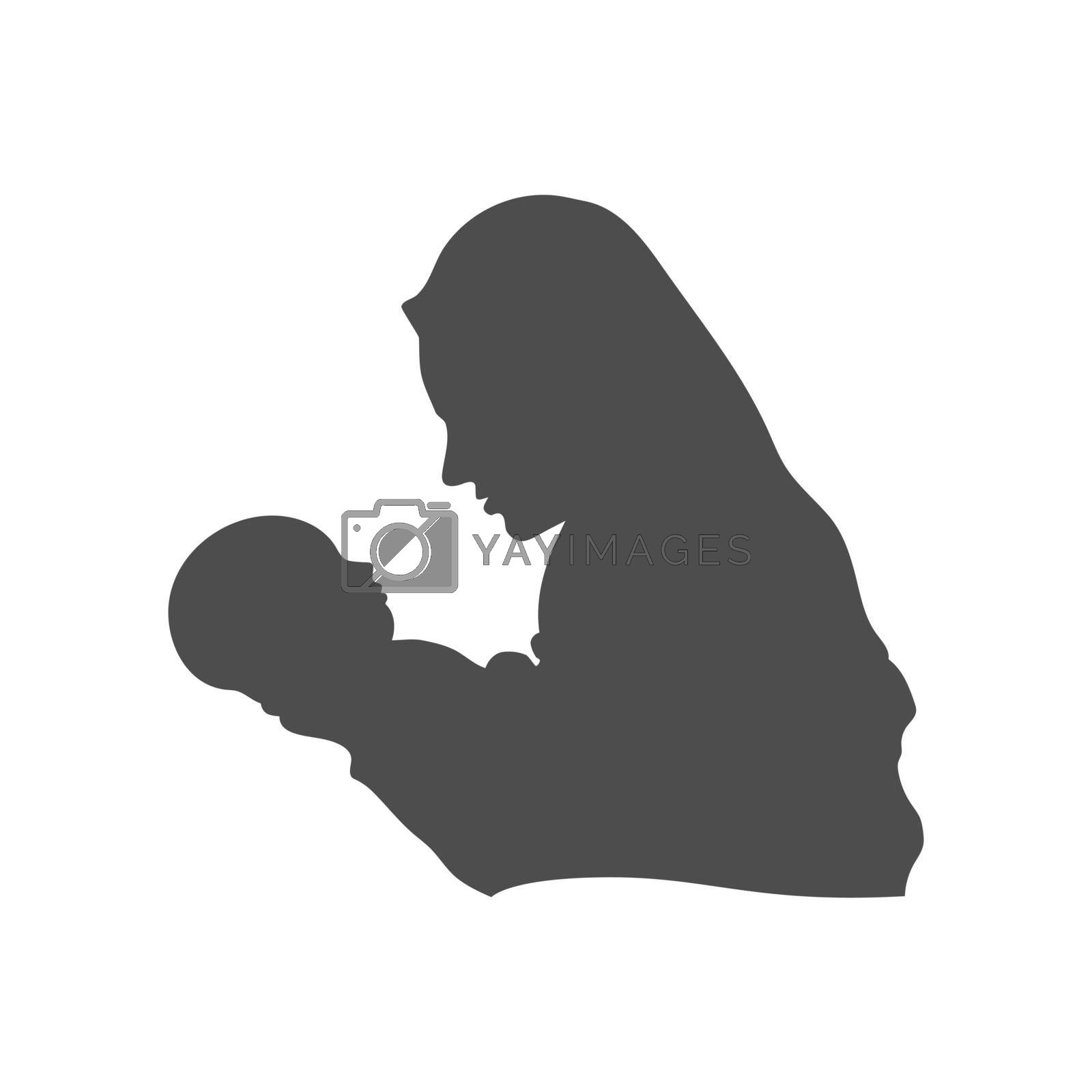Silhouette of a woman and a baby. a woman holds a baby in her arms. Vector illustration, flat style.
