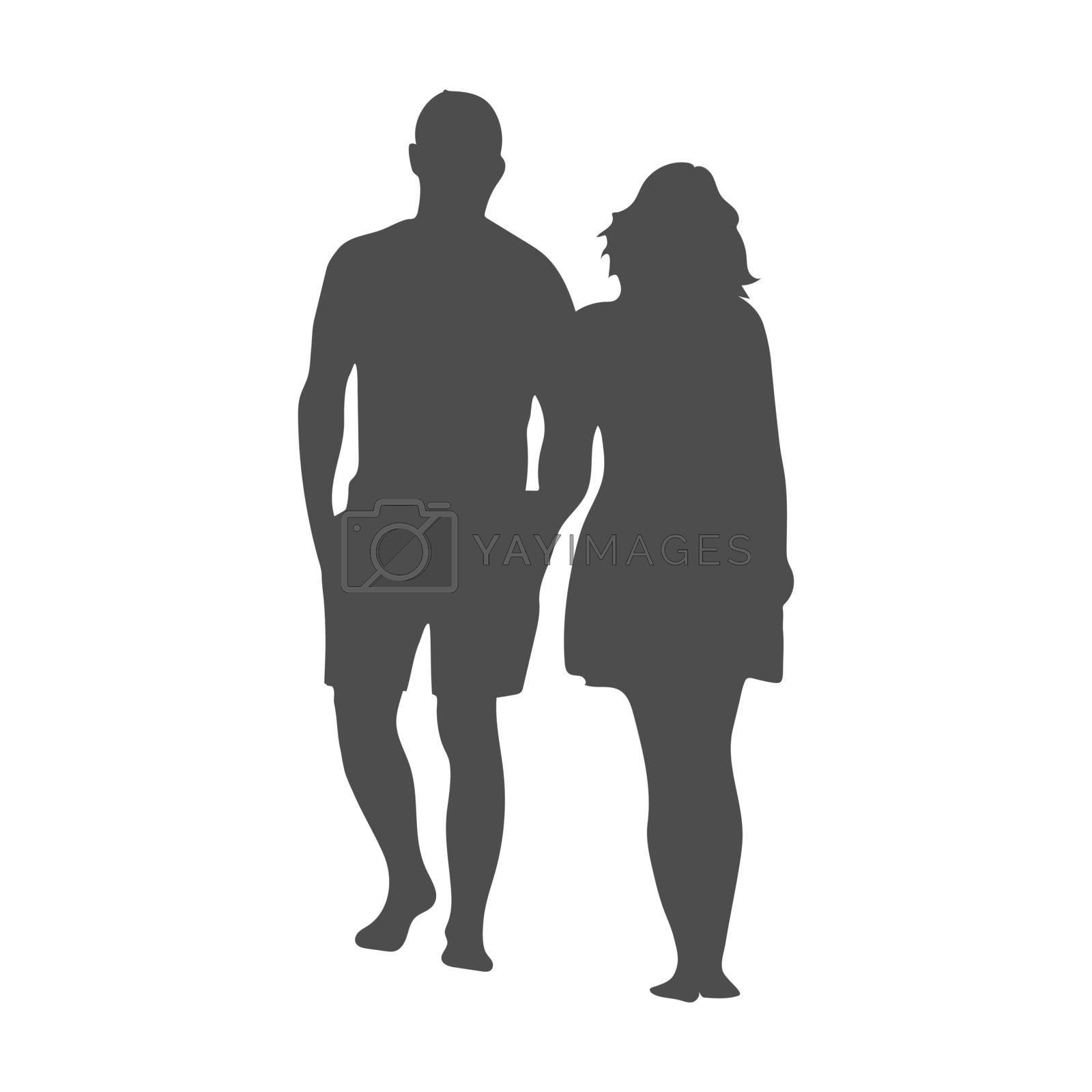 Silhouette of a man and a woman. A man and a woman stand hand in hand. Vector illustration, flat style.