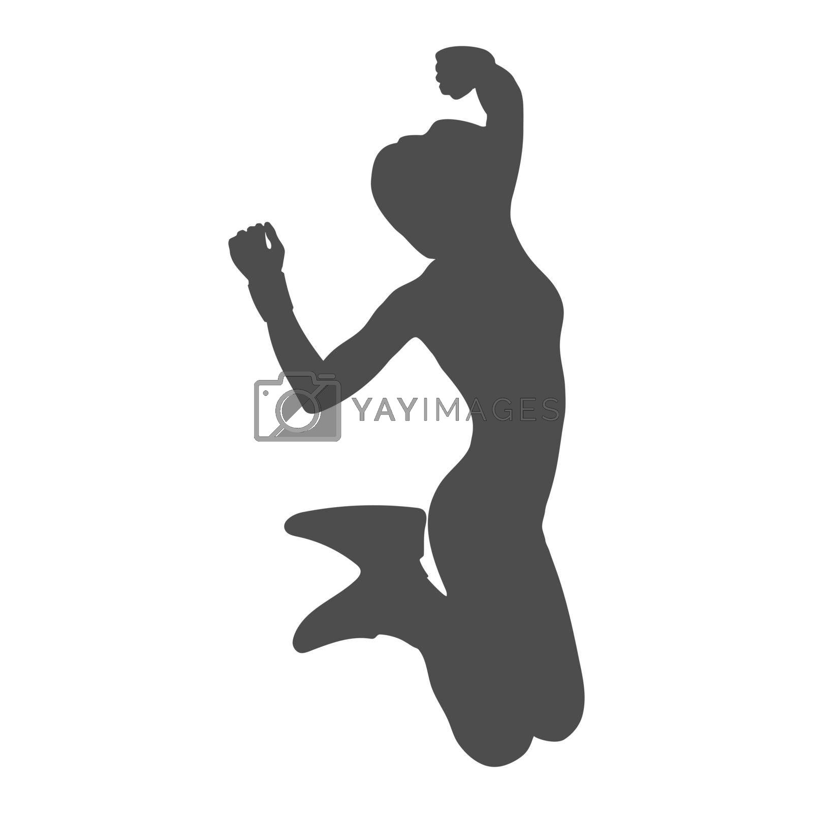 Silhouette of a girl in a jump with bent legs. Vector illustration, flat style.