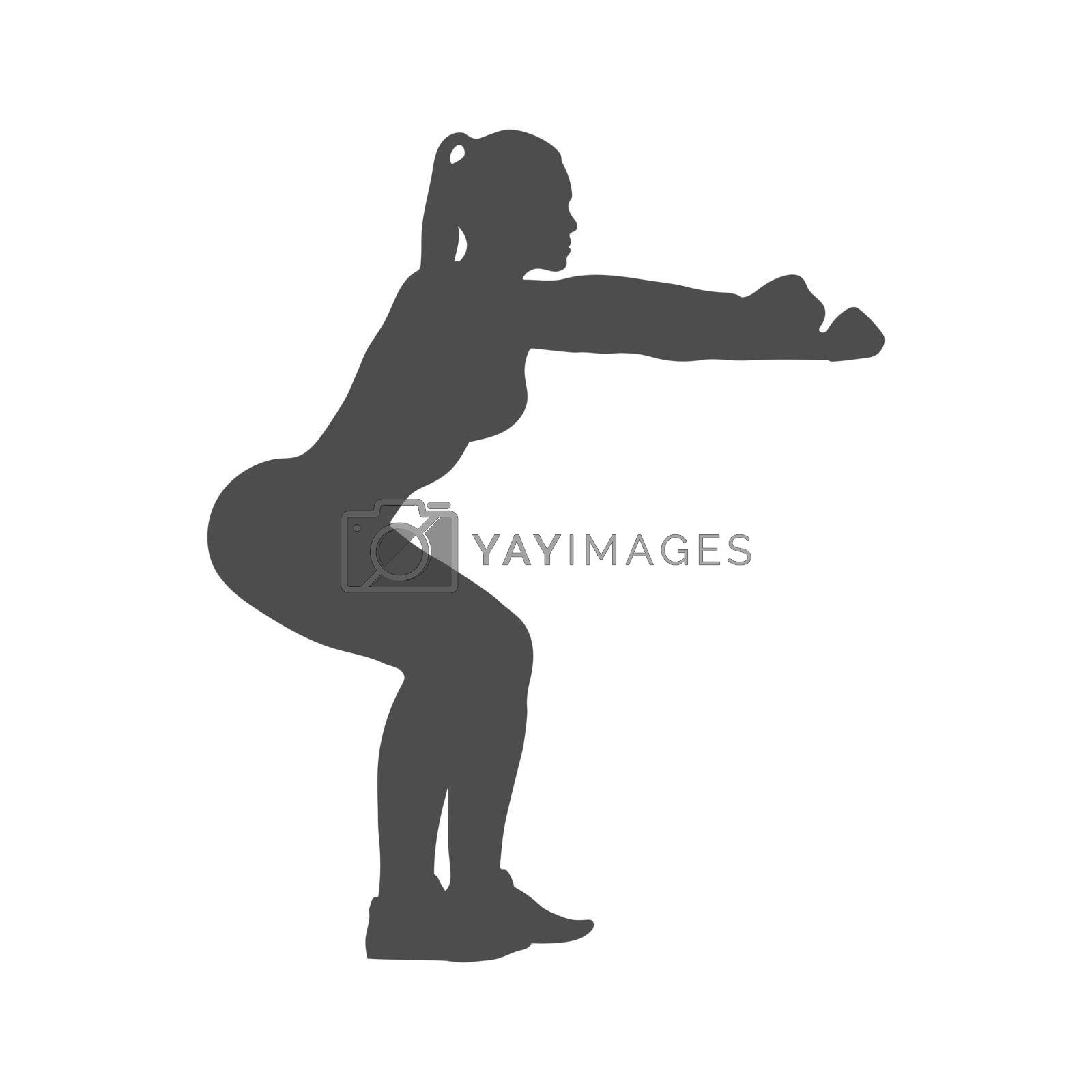 Silhouette of a female athlete. The athlete does a squat. Vector illustration, flat style.