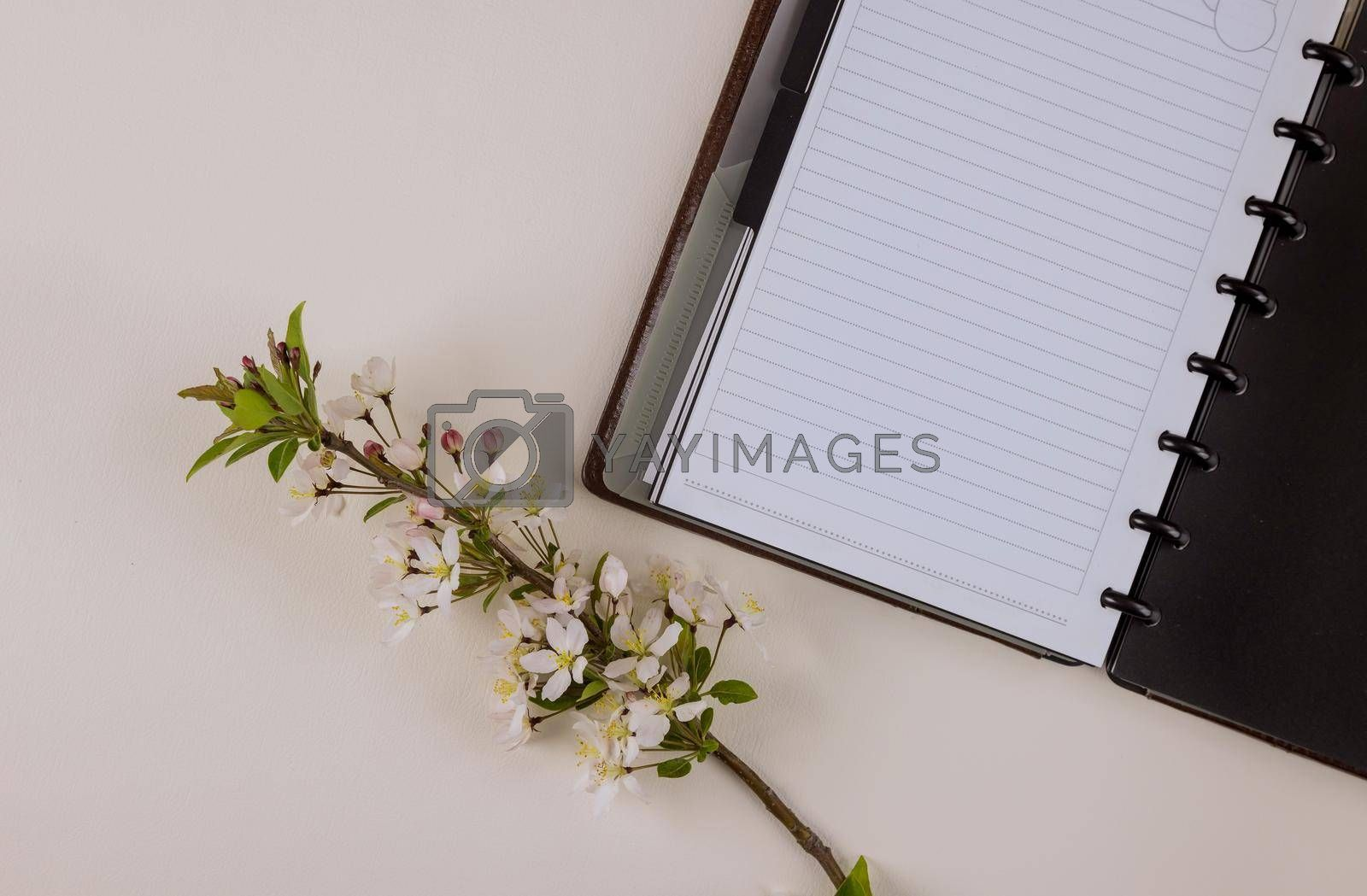 Office equipment space with notepad on using for business his work