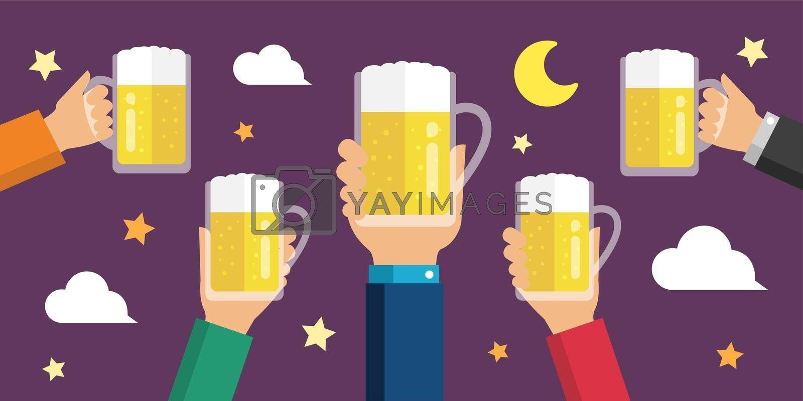 Making a toast with beer/  beer garden flat banner illustration