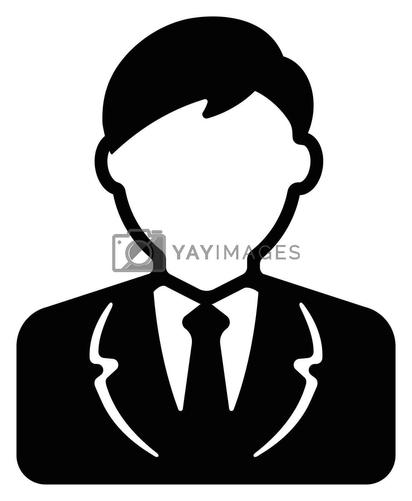 Worker , business man , business person / avatar icon illustration (upper body)
