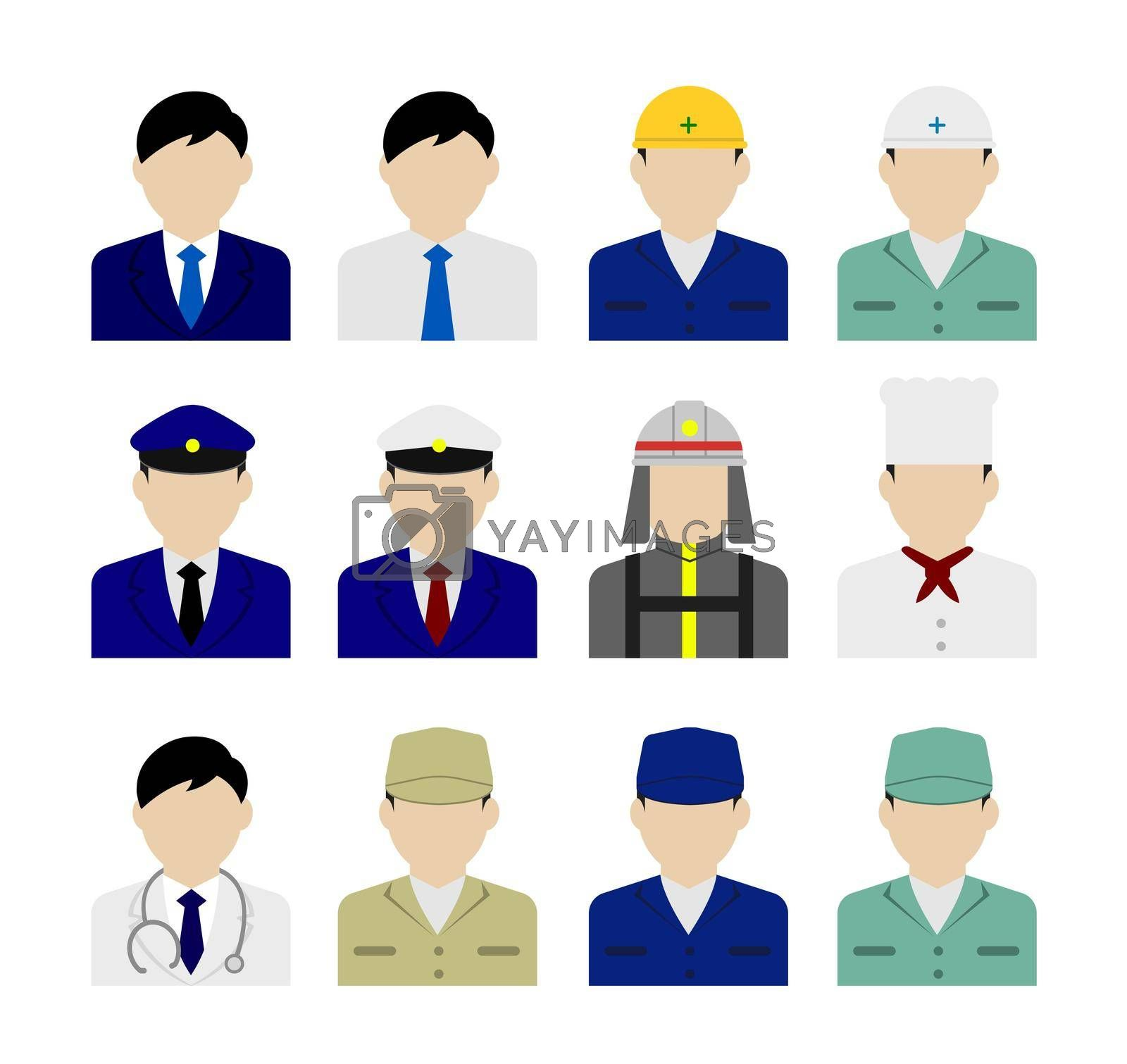 Worker avatar icon illustration set (upper body) / business person, blue collar worker, police man, cook , doctor etc.