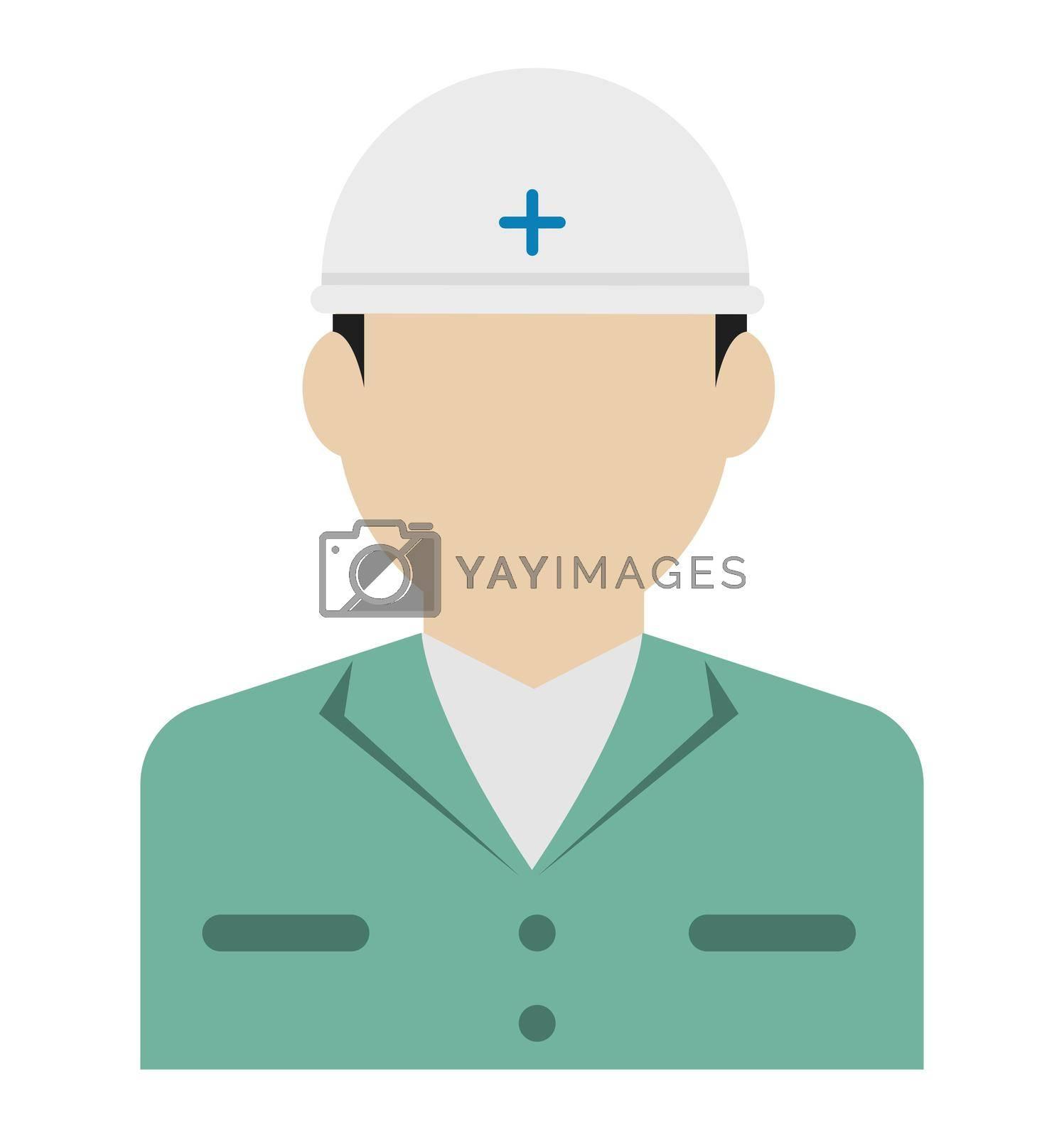 Worker avatar icon illustration (upper body) / blue collar worker, construction worker