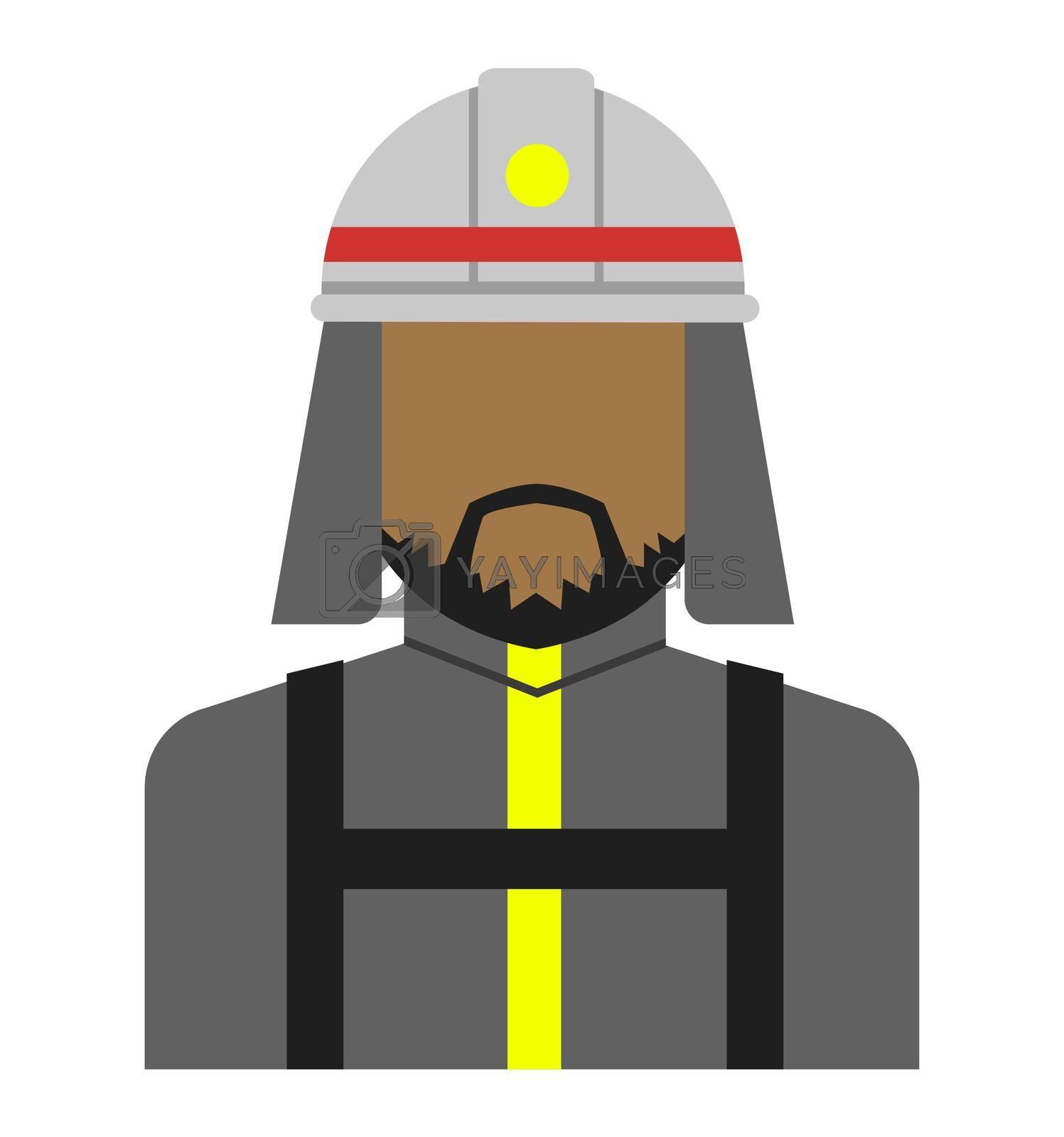 Young male worker avatar flat illustration (upper body) / firefighter, fireman