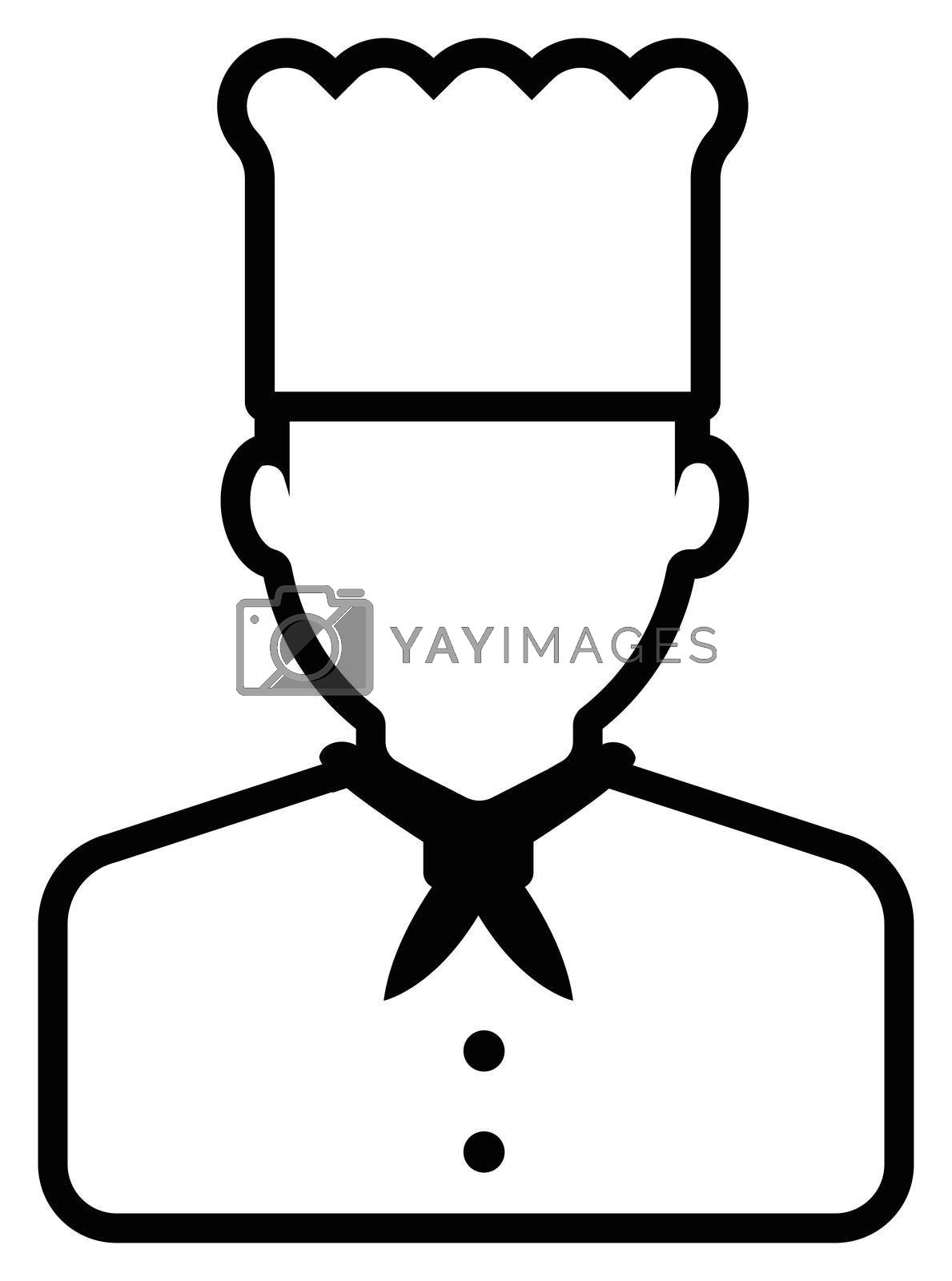 Young male worker avatar flat illustration (upper body) / chef, cook