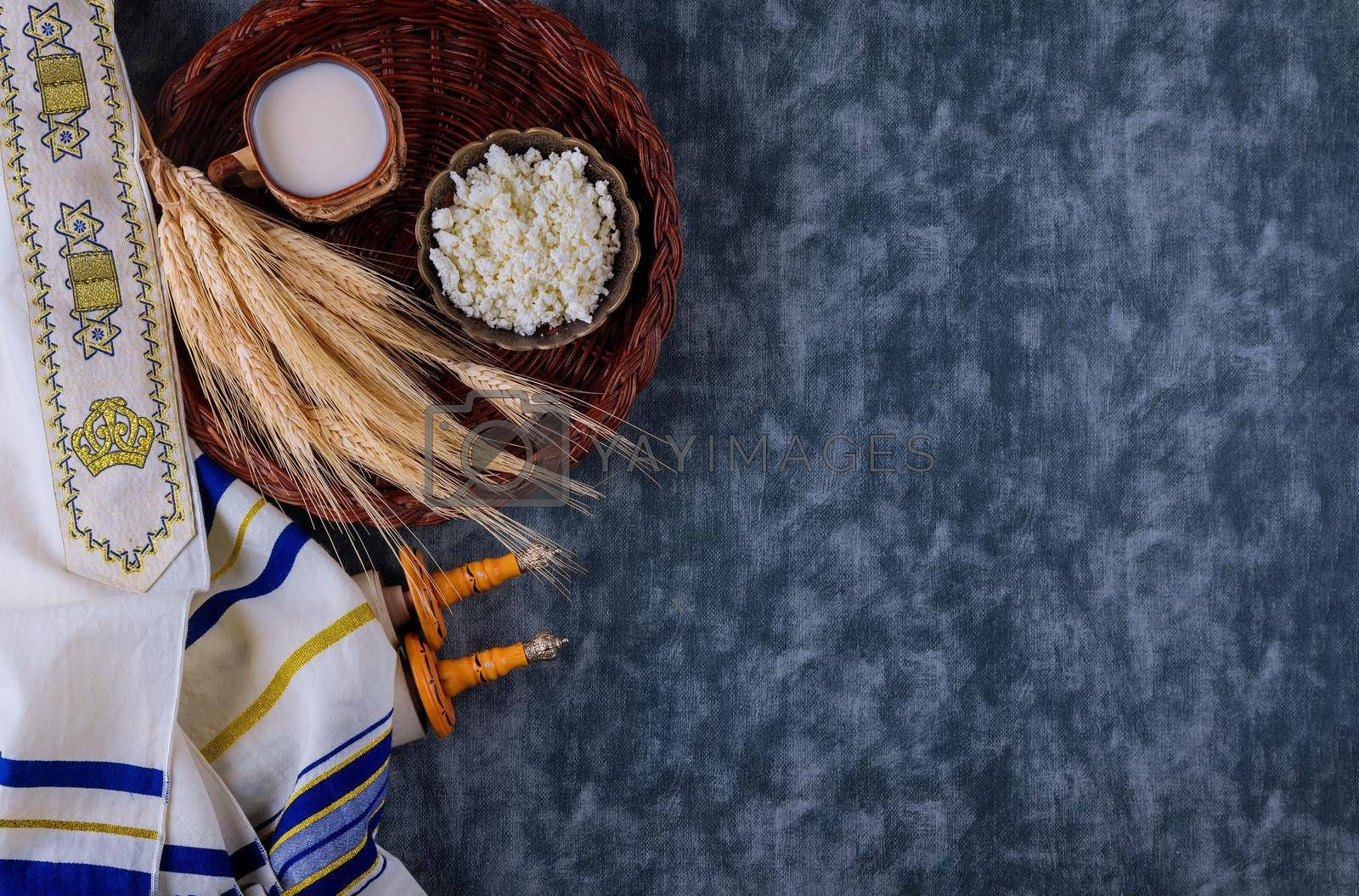 Fresh dairy products milk, cottage cheese wheat, shavuot kosher food