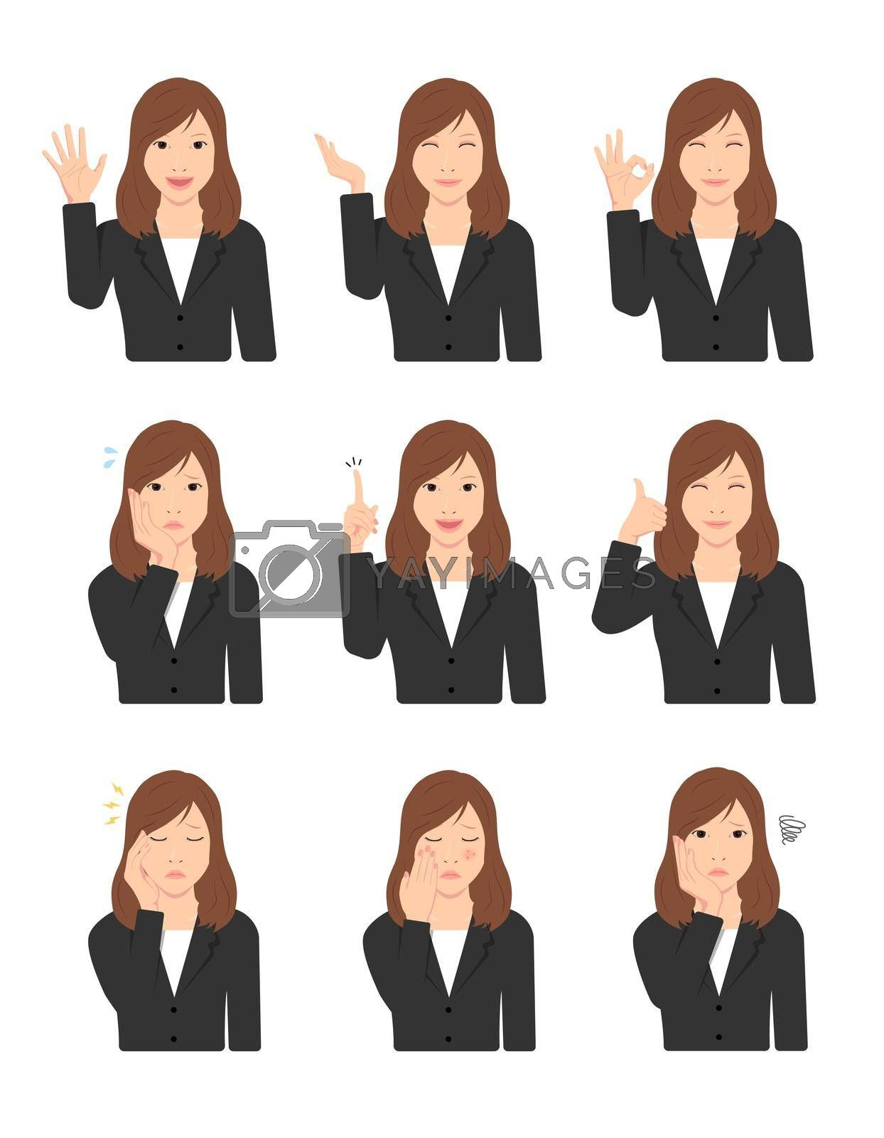 Young asian woman (upper body / waist up ) vector illustration set / hand gesture and face pattern variations.