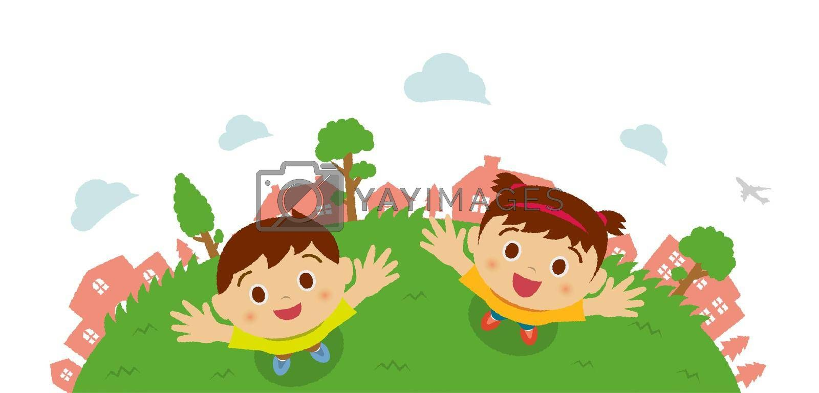 Kids (children / boy and girl) looking up into the sky (bird's eye view). Vector cartoon illustration.