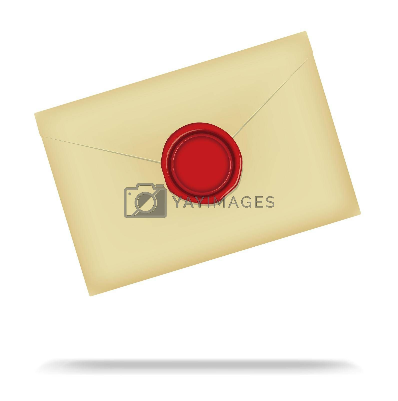 Letter and sealing wax vector illustration / Design space in the center of the wax