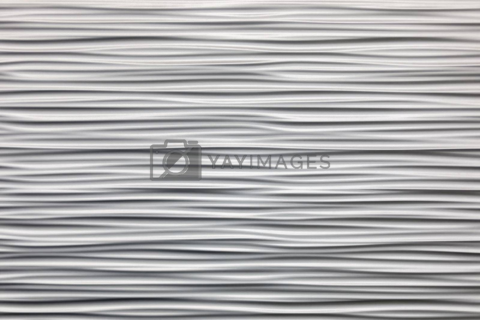 Wall texture with wavy horizontal stripes. Gray convex putty. Stylish design