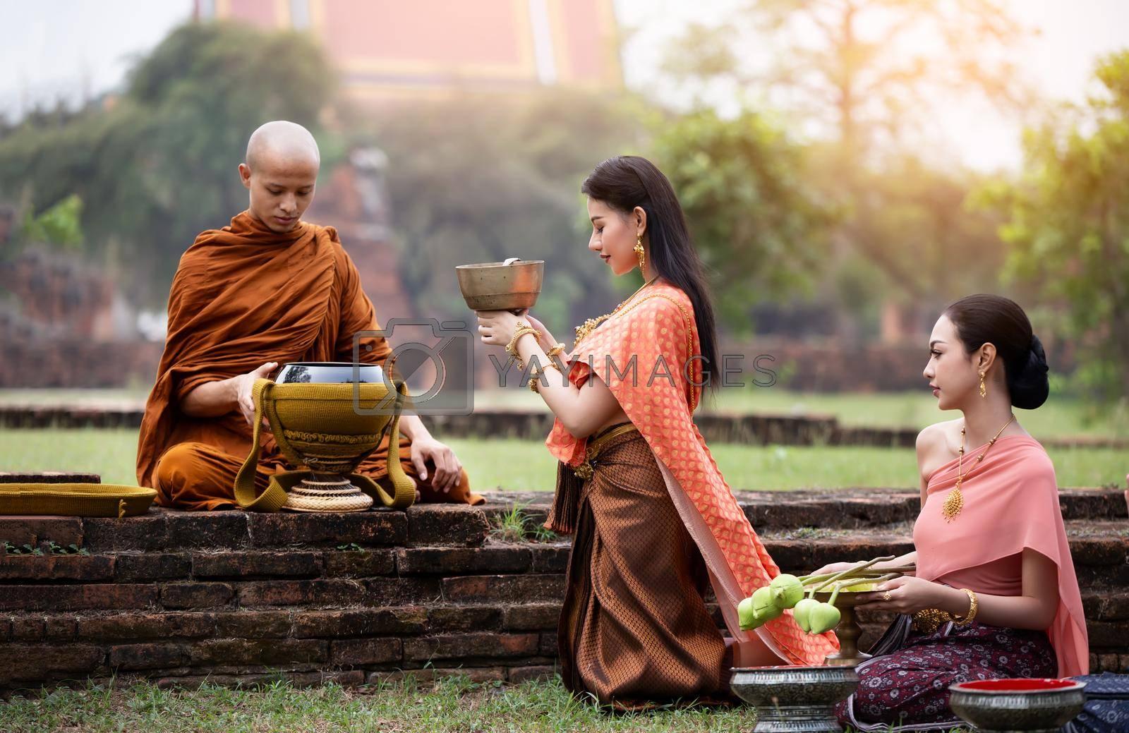 Buddhist monks at Wat Mahathat temple, Sukhothai