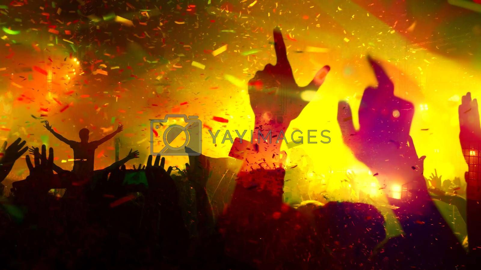 Concert Music festival and Celebrate. Party People Rock Concert. Crowd Happy and Joyful and Applauding or Clapping. Celebration party festival happiness. Blurry night club. Concert Show with DJ Music festival EDM on Stage