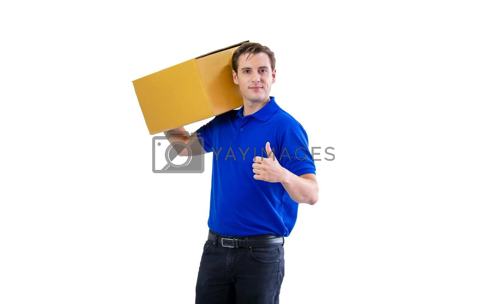 Delivery man carrying package carton box isolated on white background.