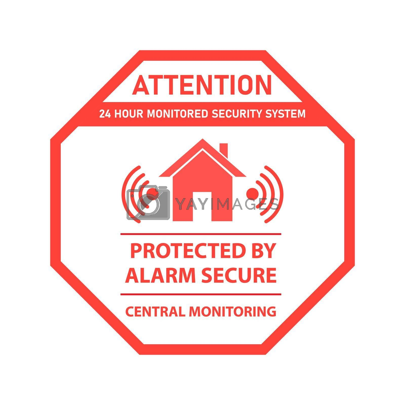 Icon or sign of a real estate security alarm system. Vector illustration, flat style.
