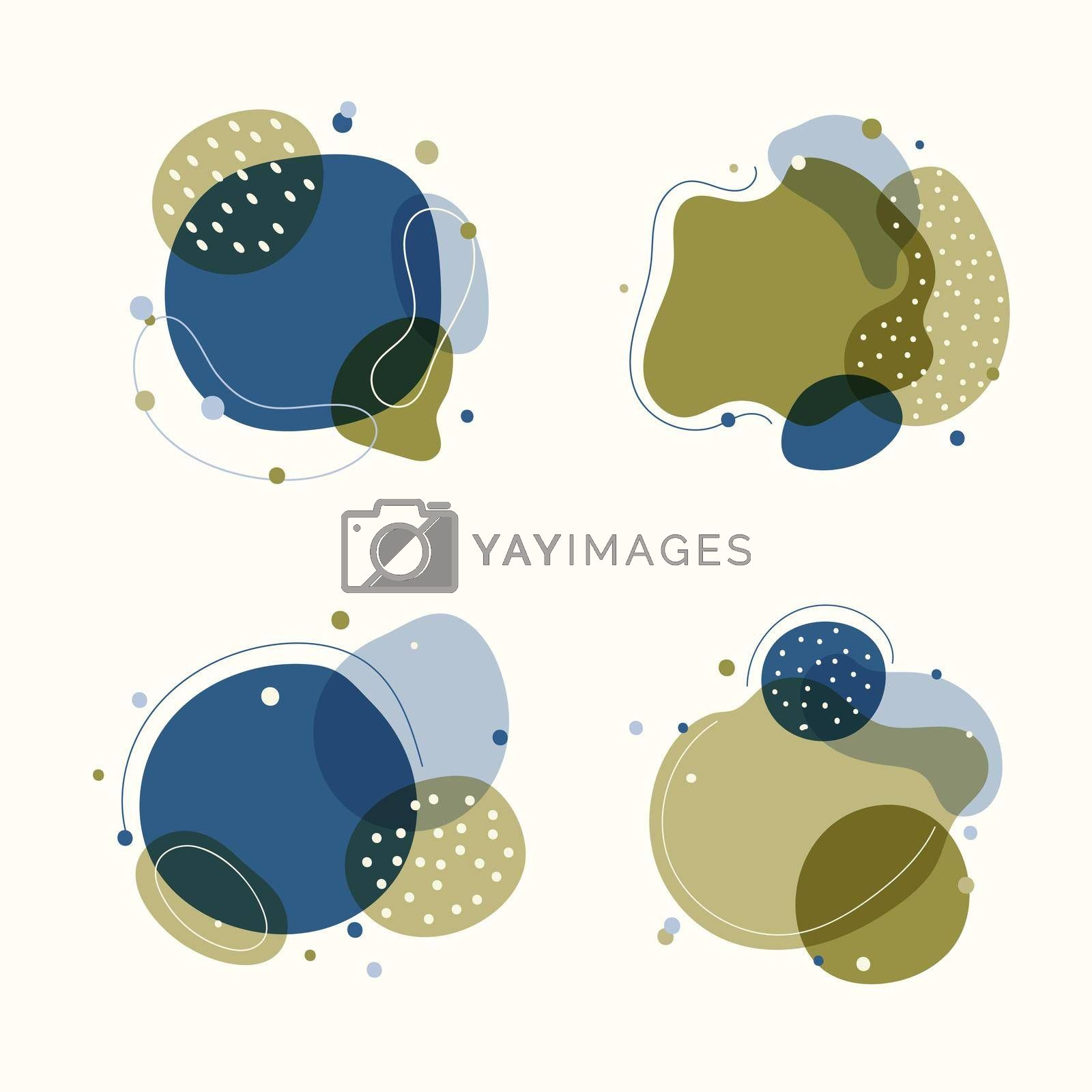Set of abstract trendy graphic organic shape elements flowing liquid isolated on white background. Vector illustration