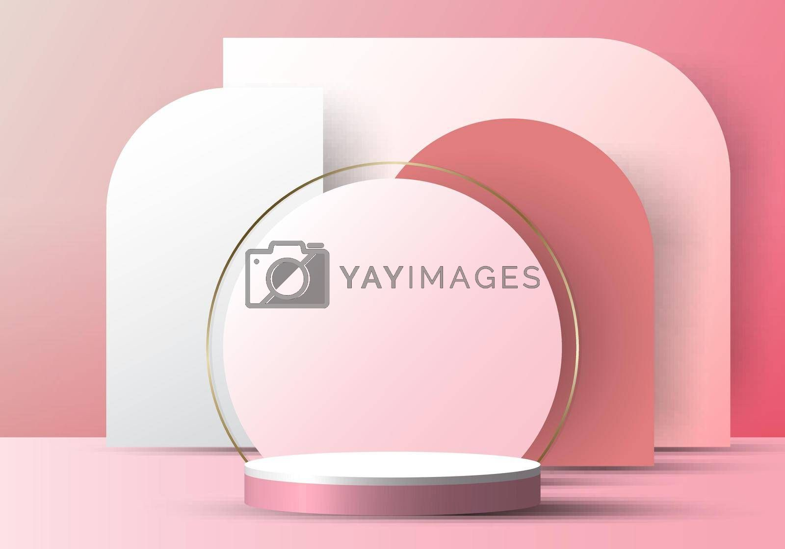 Royalty free image of 3D realistic elegant white cylinder on circle rounded backdrop on pink background by phochi