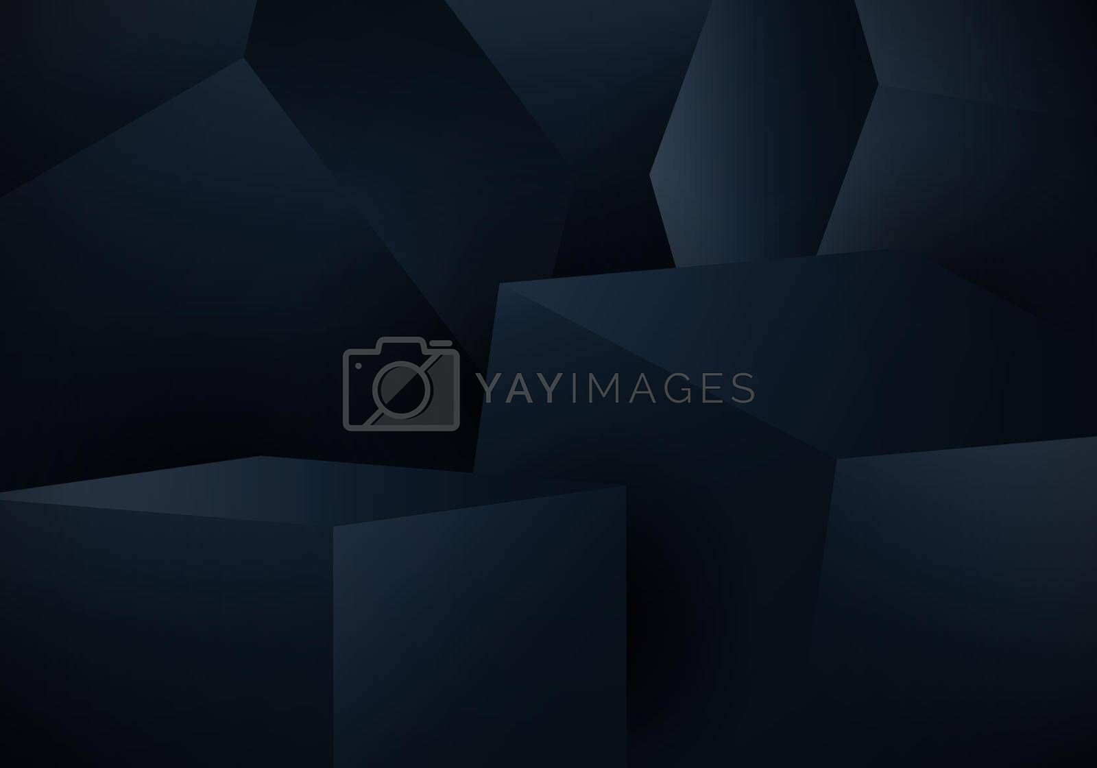 Royalty free image of Abstract 3D blue cube box on dark background by phochi