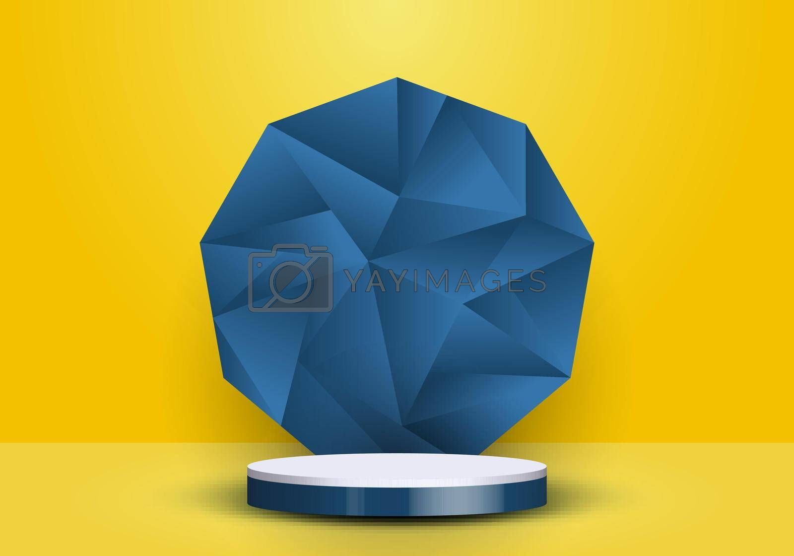 Royalty free image of 3D realistic blue and white cylinder on low polygon backdrop on yellow background by phochi