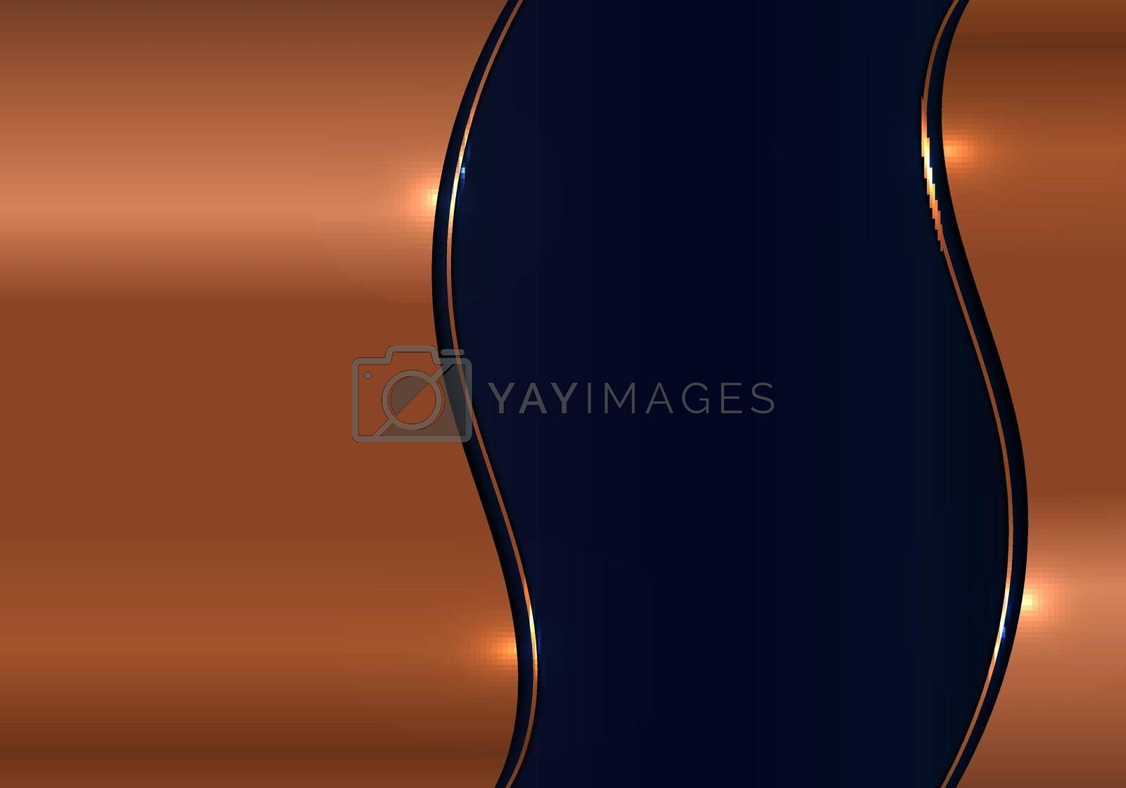 Royalty free image of Modern template design 3D wave gold metal texture on blue shiny background luxury background by phochi