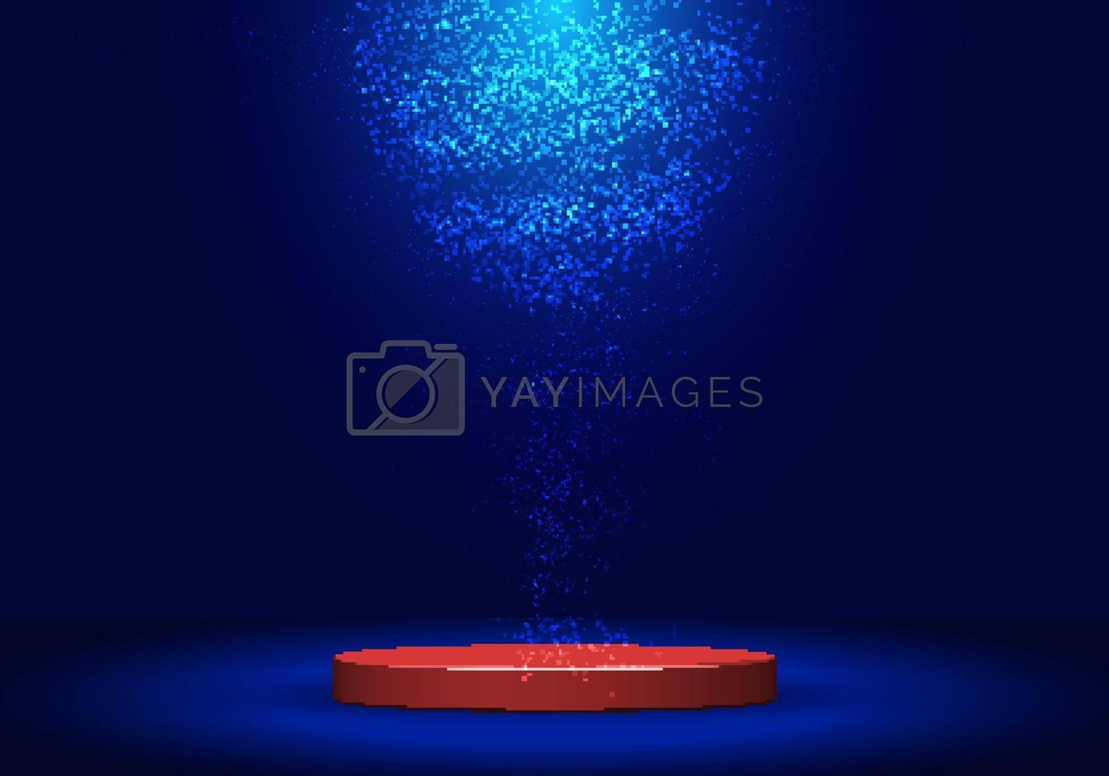 3D realistic red pedestal with lighting and dust on dark blue background. Stage floor for winner award, presentation, concert, etc.  Vector illustration